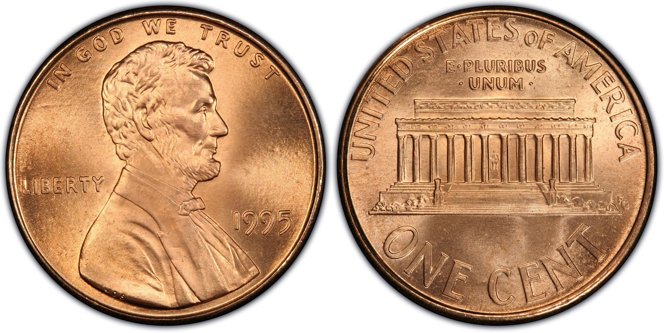 1995 1C Doubled Die Obverse, RD (Regular Strike) - PCGS CoinFacts