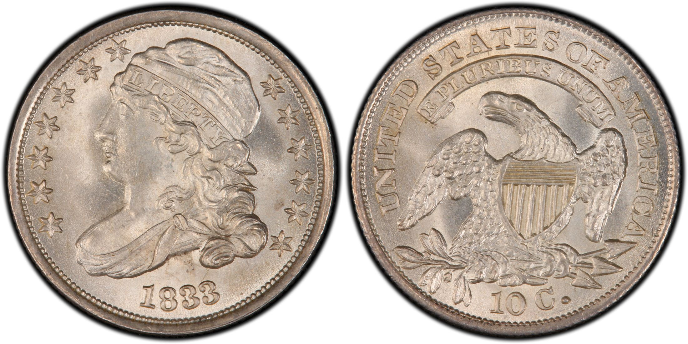 1833 10c Regular Strike Pcgs Coinfacts