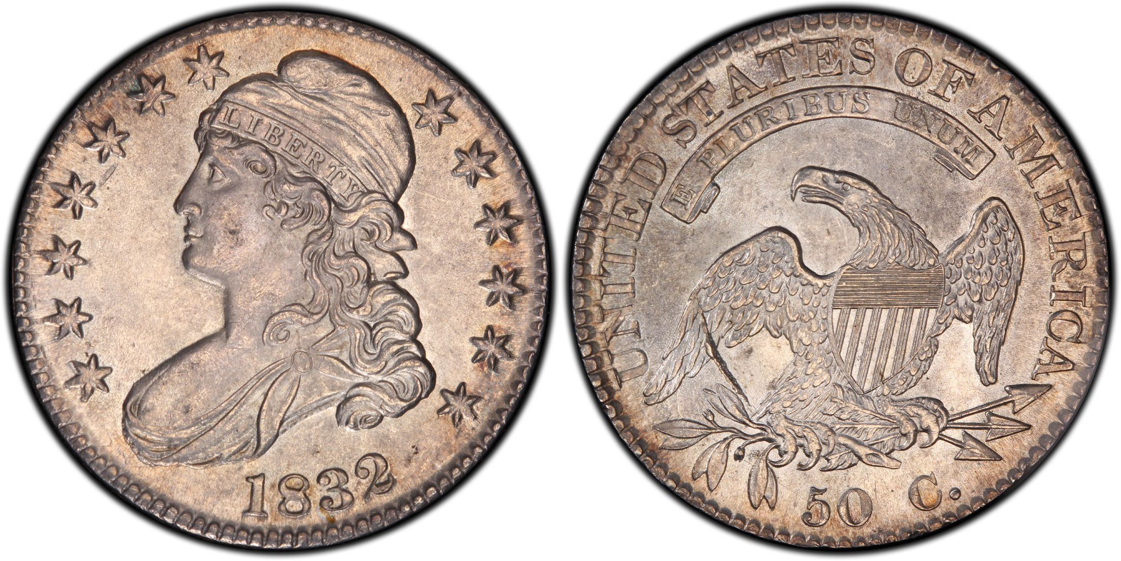 1832 50c Large Letters Regular Strike Pcgs Coinfacts