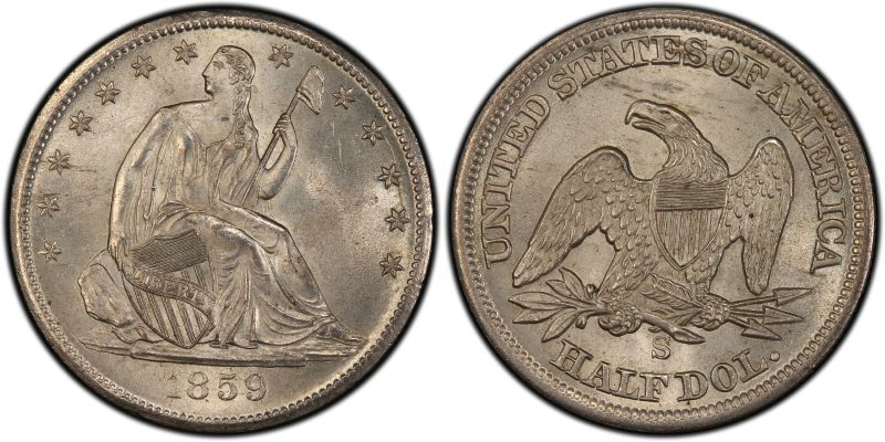 GFRC Open Set Registry - White Pine 1859 Seated  50C