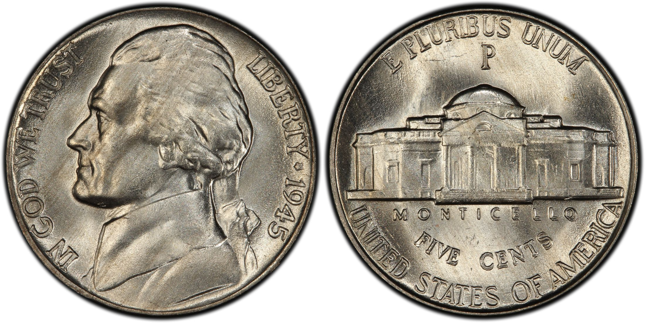 1945 P 5c Doubled Die Reverse Regular Strike Pcgs Coinfacts