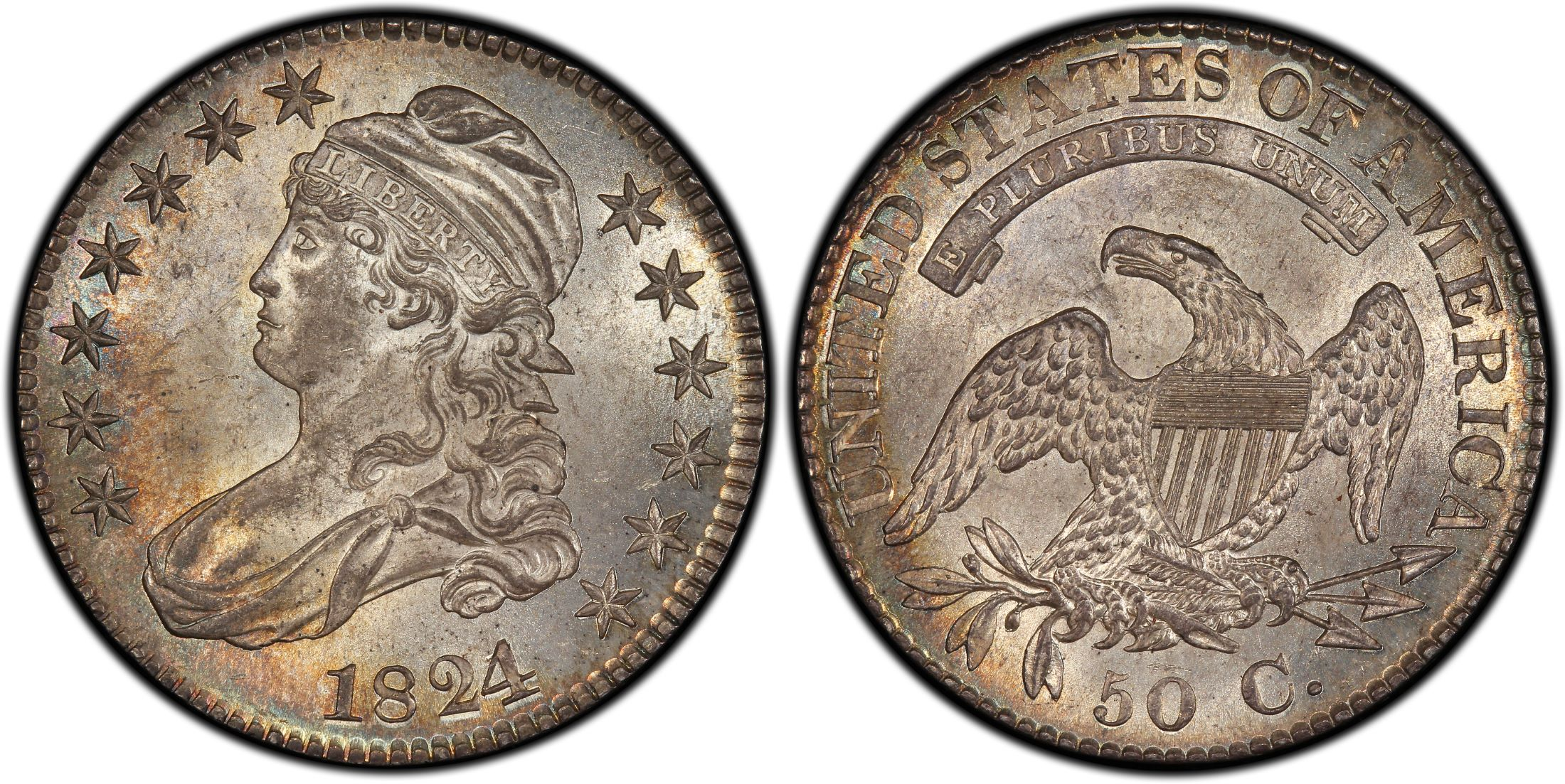 1824 1 50c Regular Strike Pcgs Coinfacts