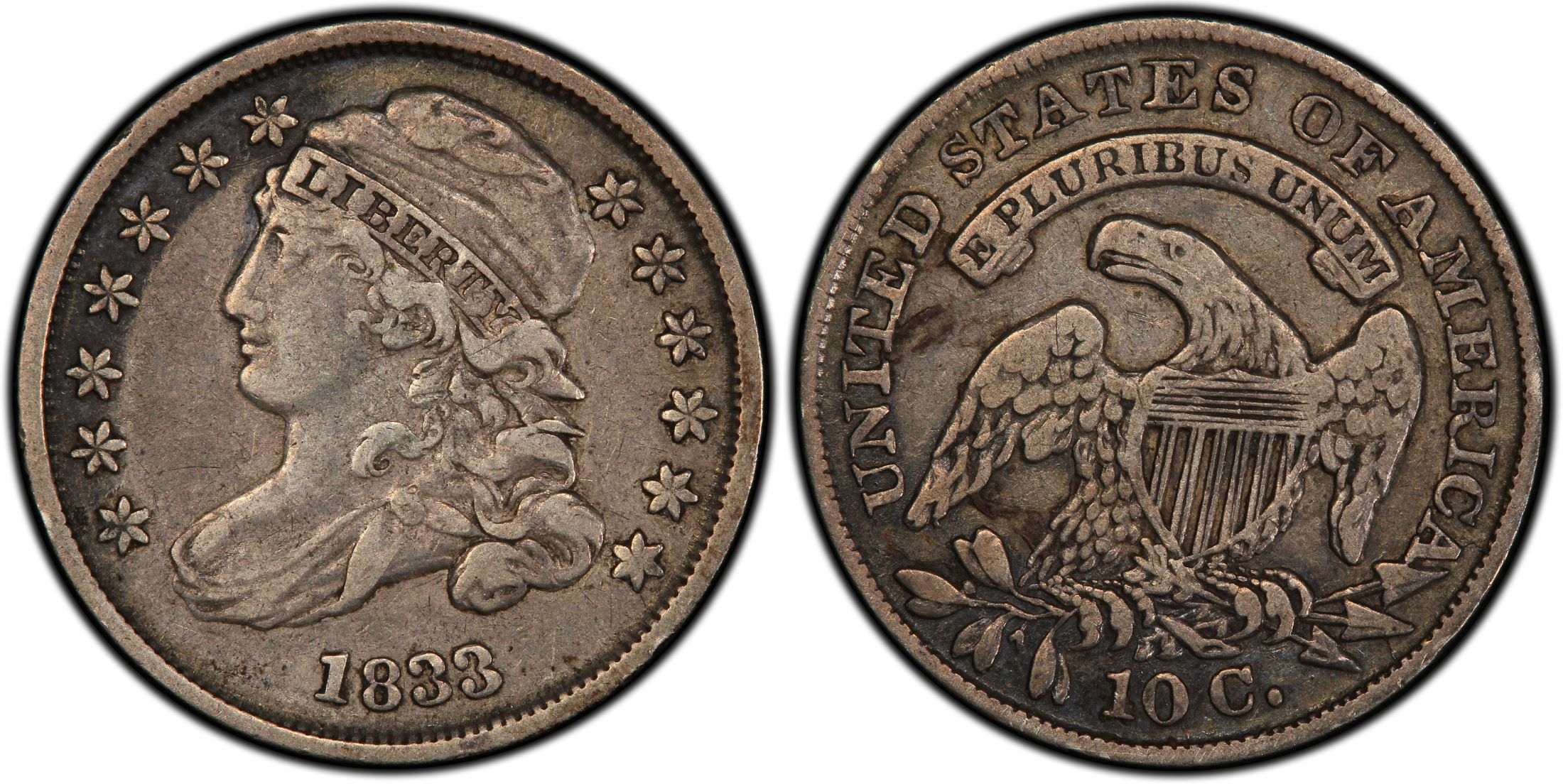1833 10c Jr 3 Regular Strike Pcgs Coinfacts