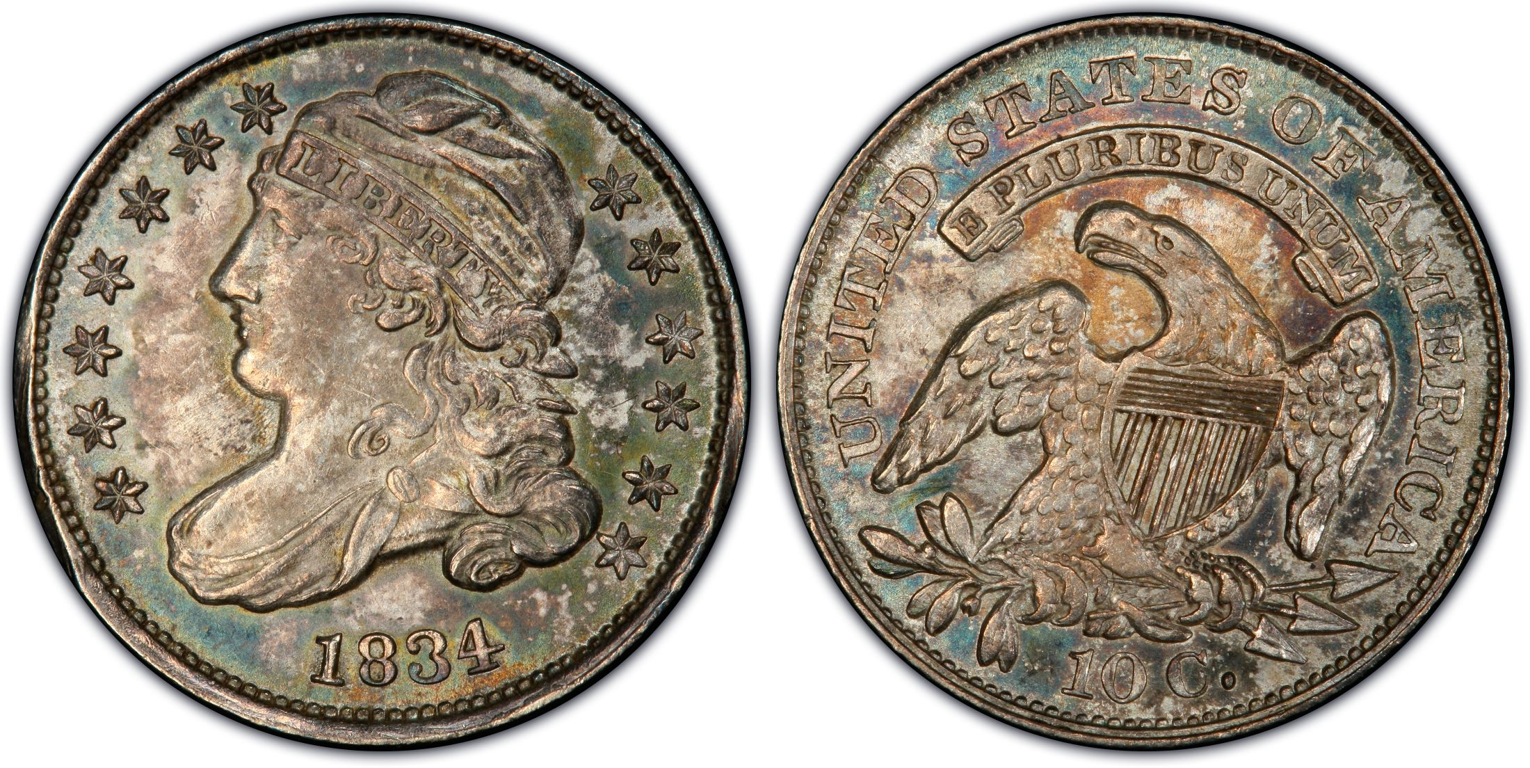 1834 10c Small 4 Regular Strike Pcgs Coinfacts