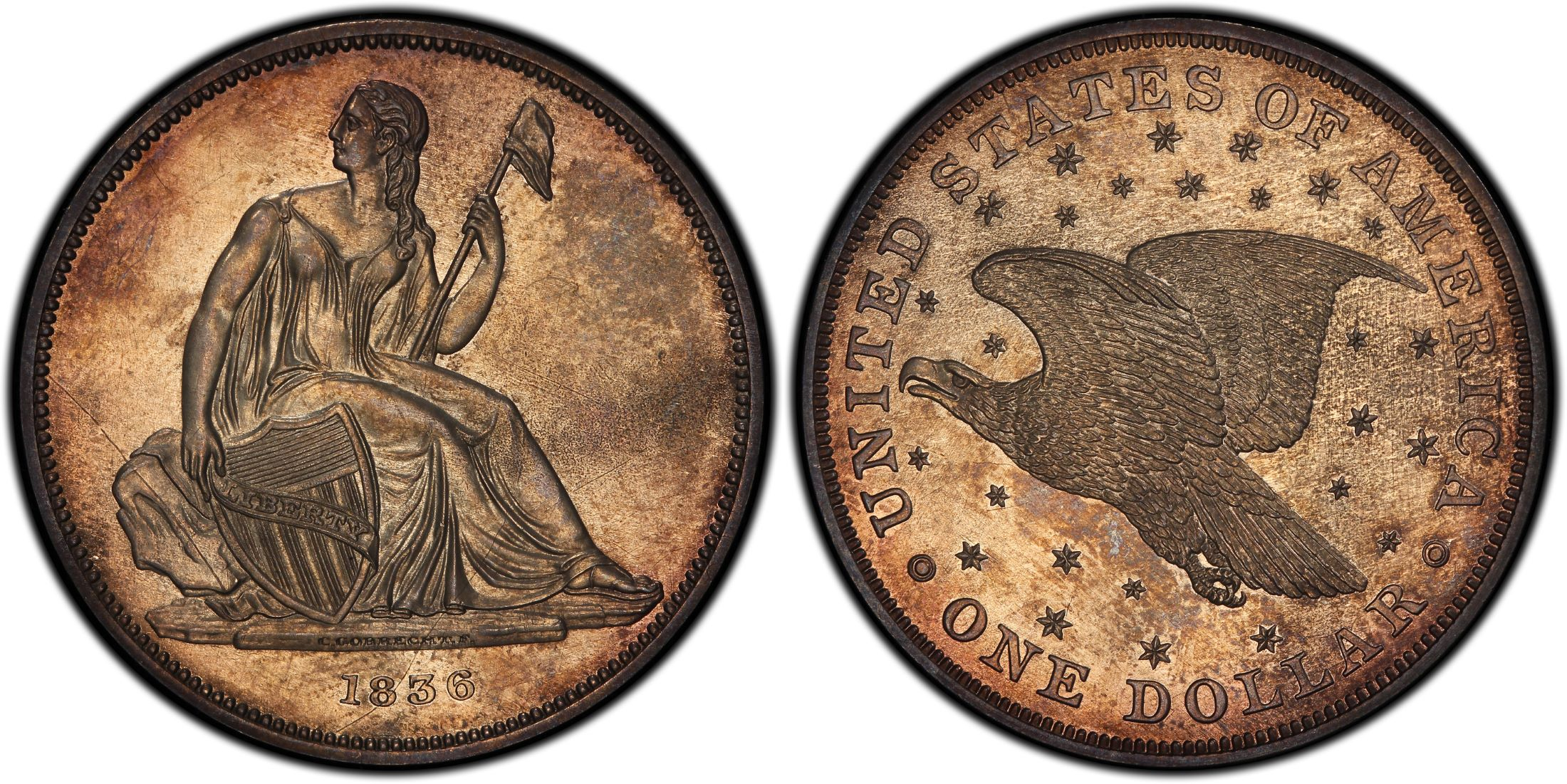 1836 1 Original Coin Alignment Proof Pcgs Coinfacts