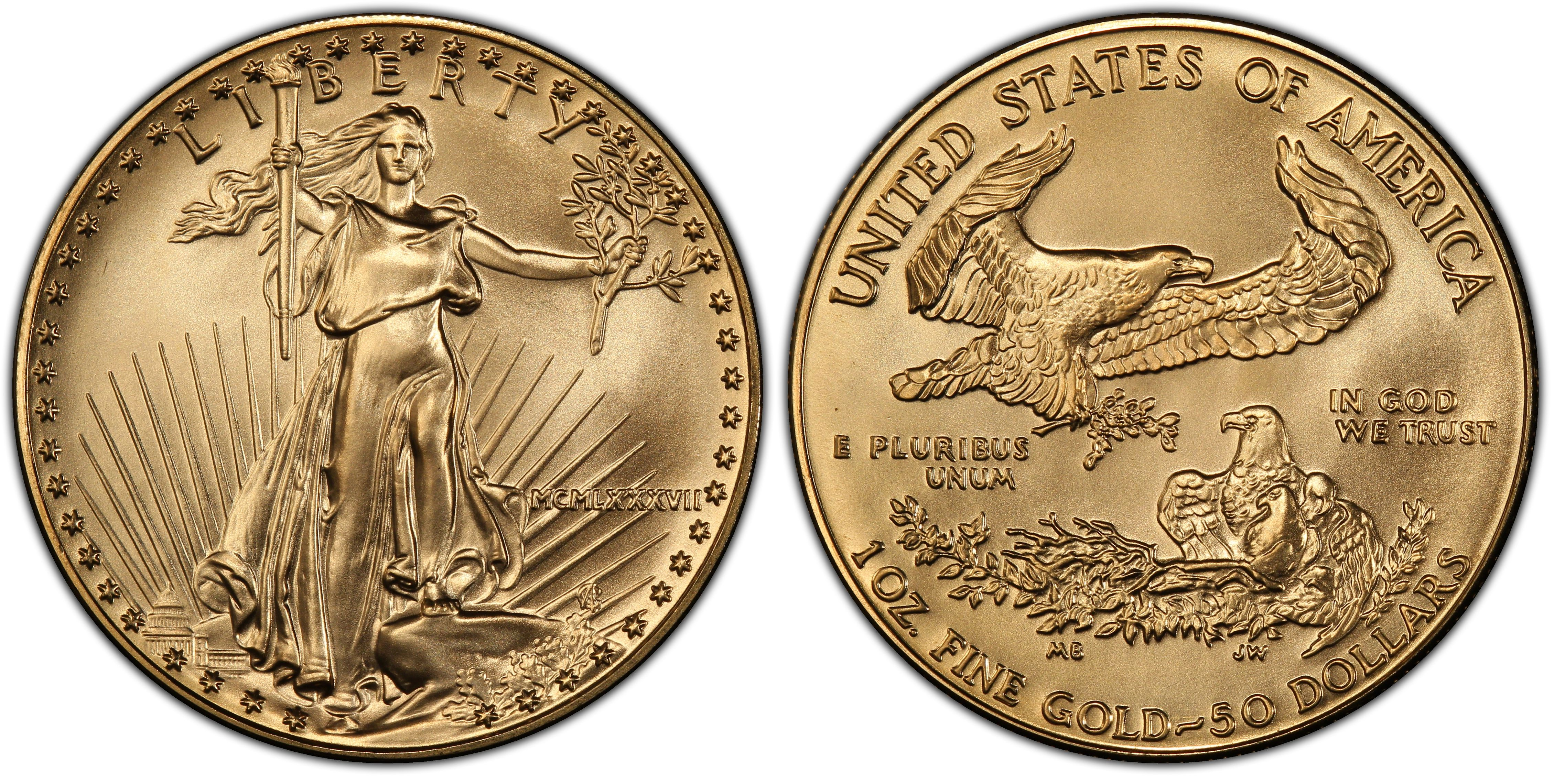 1987 One Ounce American Gold Eagle 1 Oz 50 Mcmlxvii