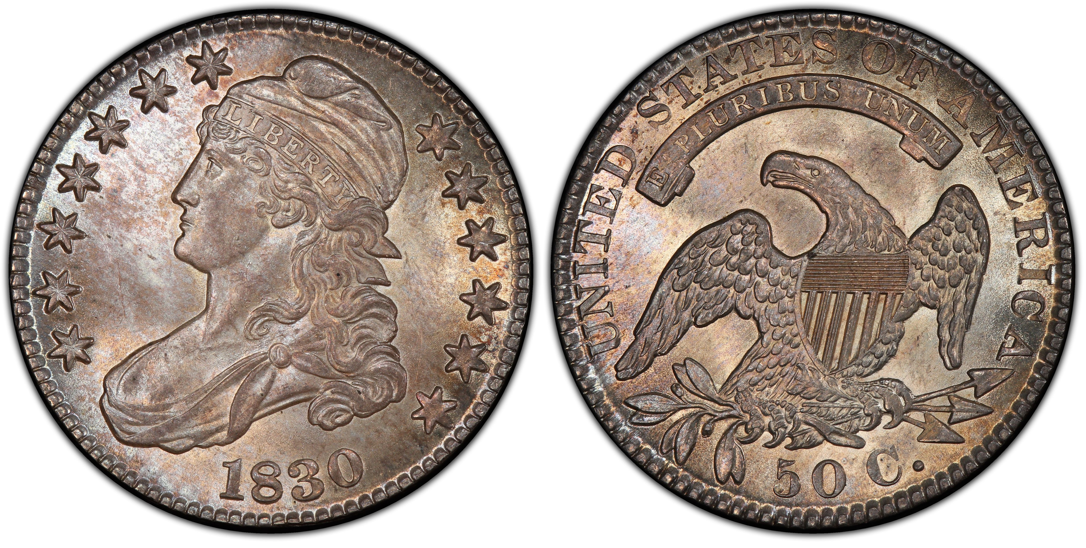1830 50c Small 0 Regular Strike Pcgs Coinfacts