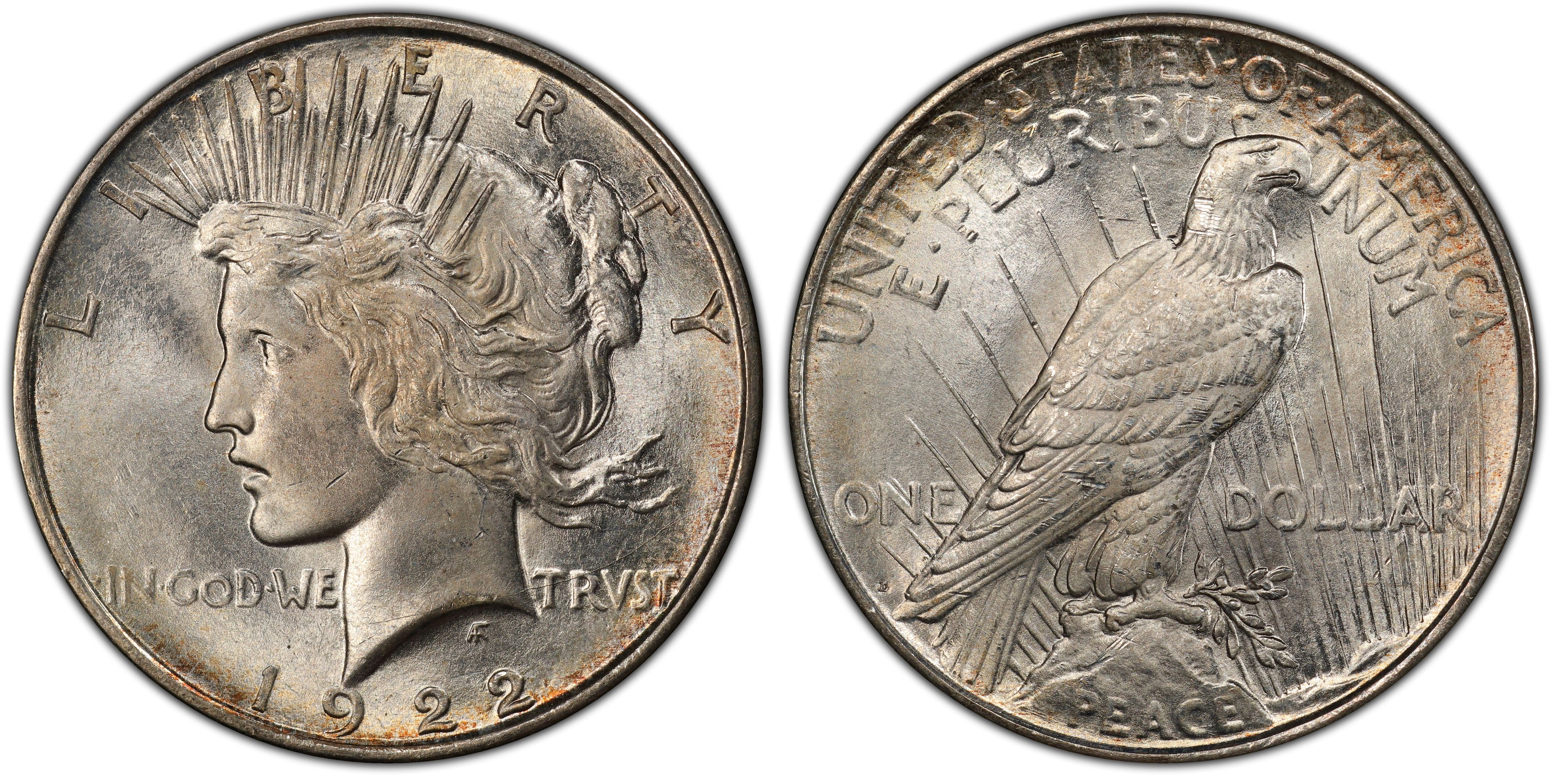 Ngc Au 58 1922 United States P Peace Dollar Coin 90% Silver