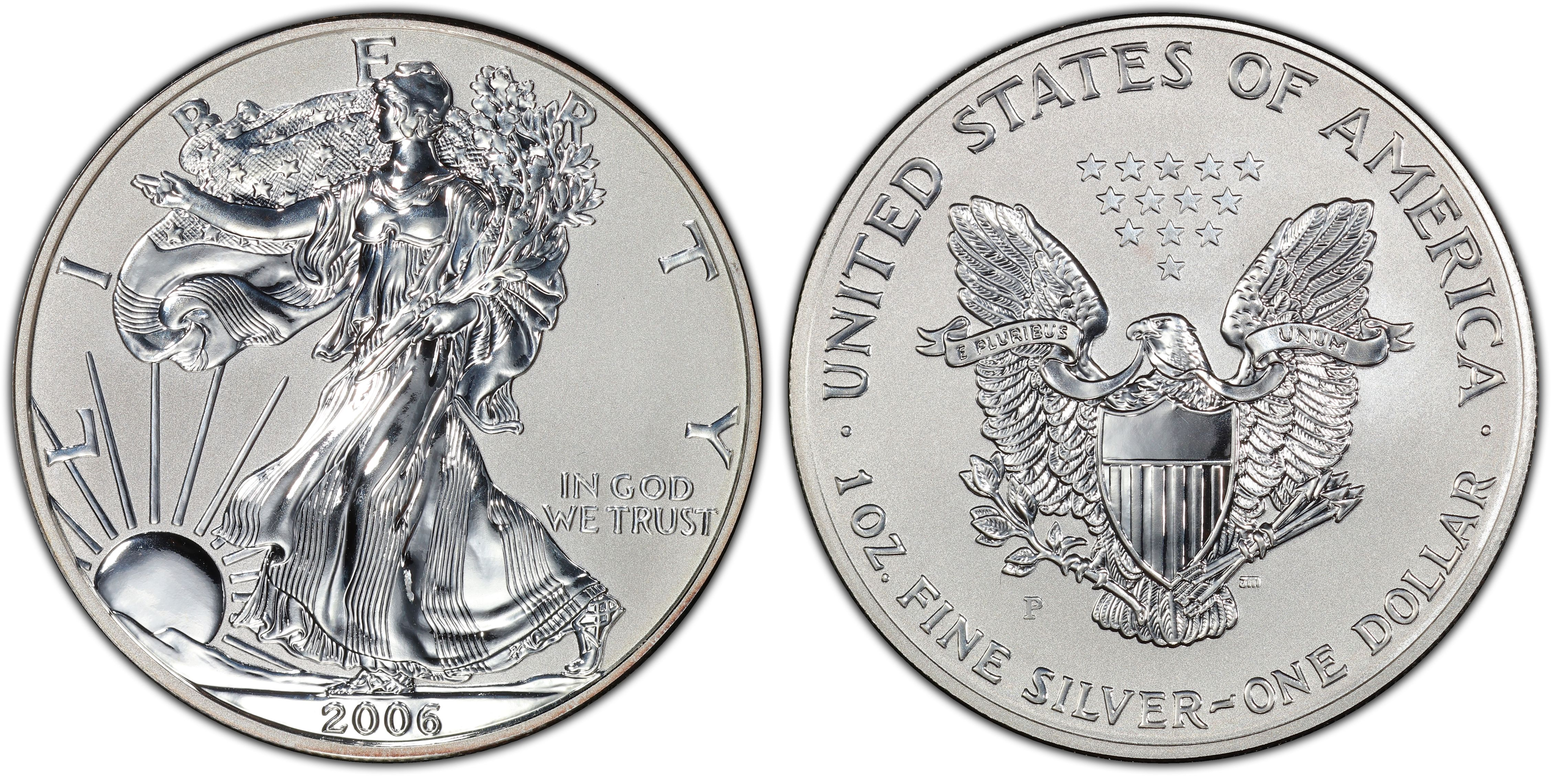 2006 American Eagle Silver One Ounce Enhanced Reverse Proof Coin Obverse Hi Res Image