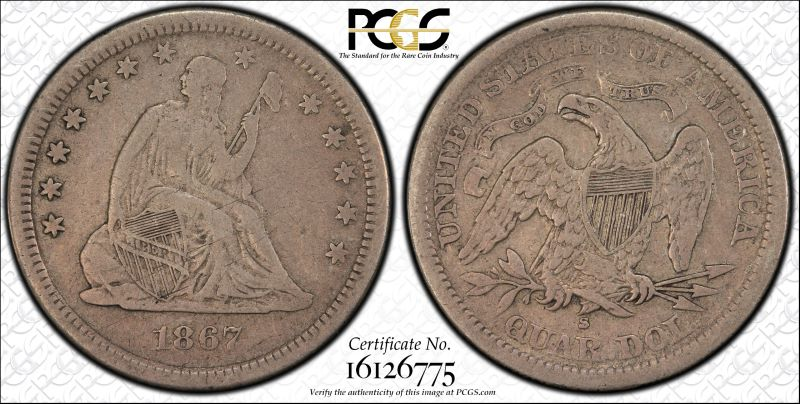 GFRC Open Set Registry - White Pine 1867 Seated  25C