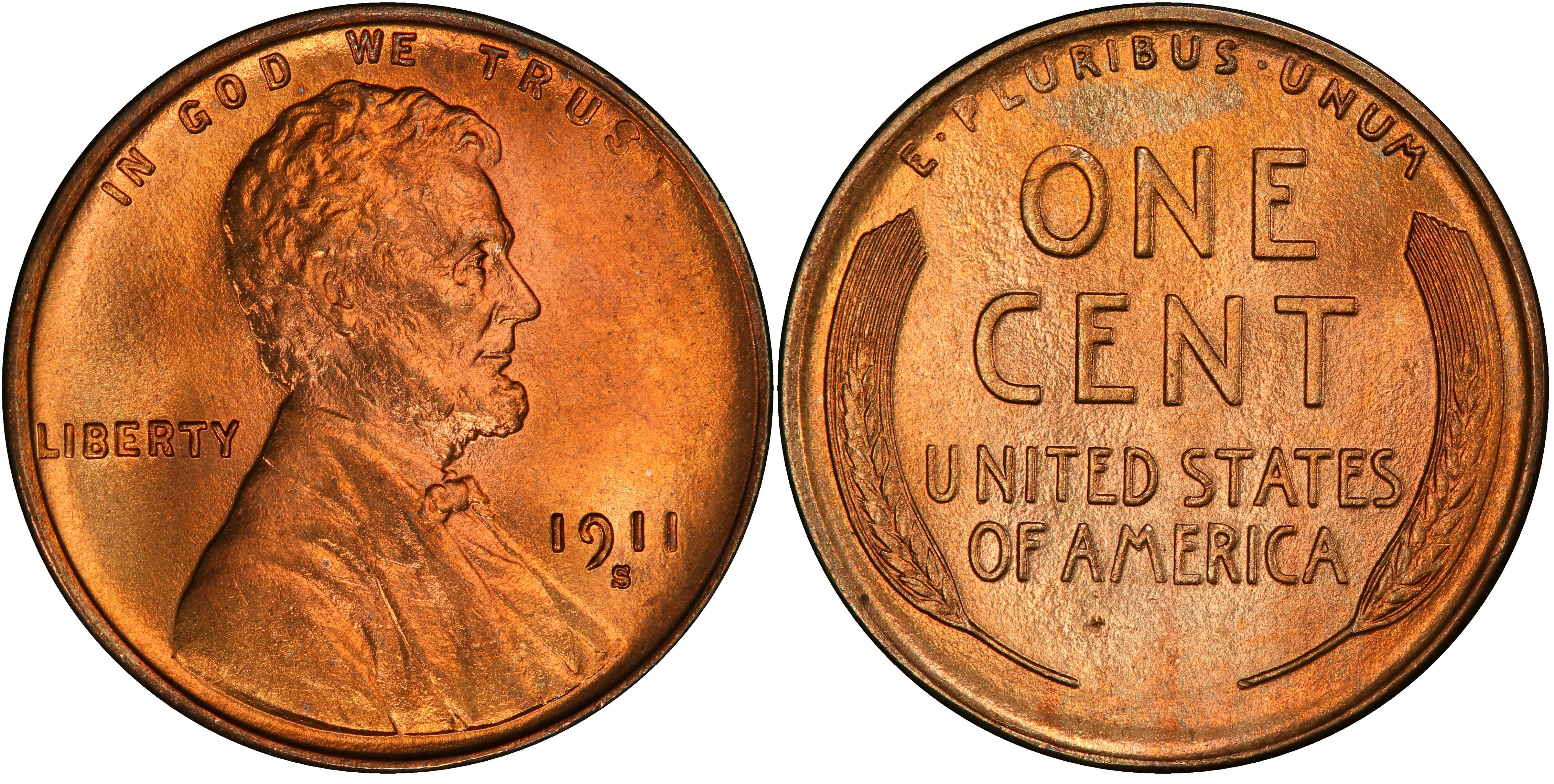 1911-S 1c Lincoln Wheat Cent Penny Genuine
