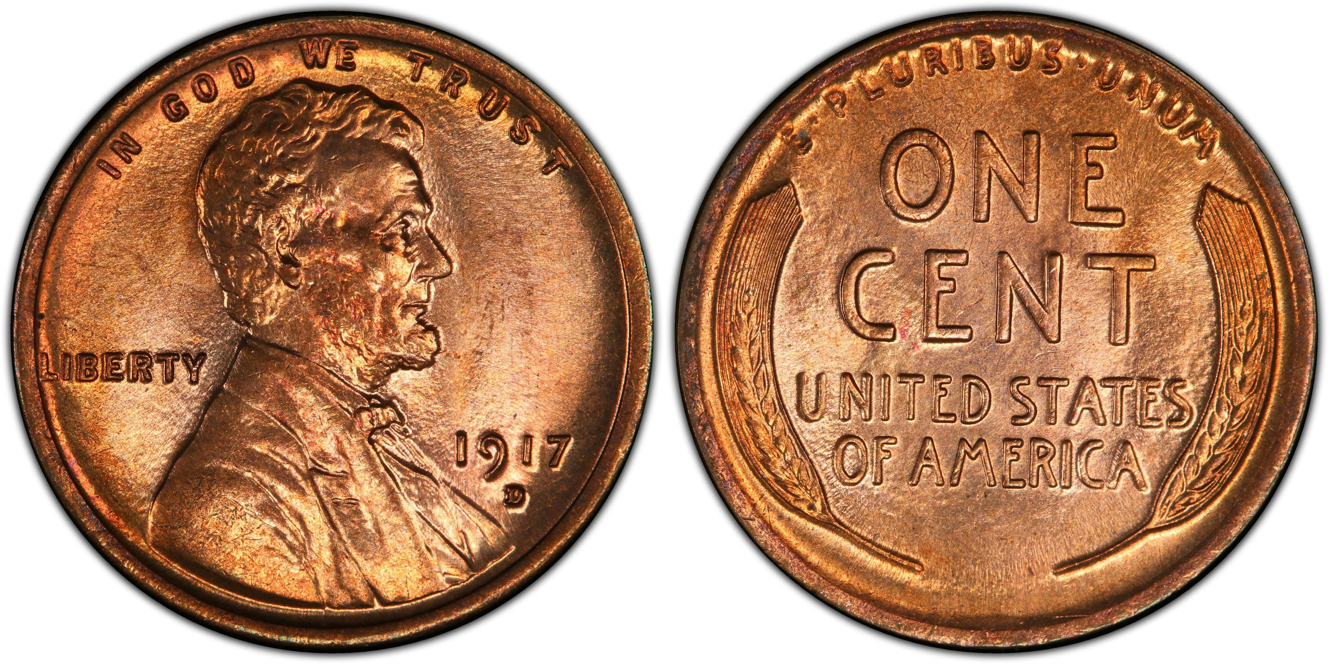 1917 D Lincoln Wheat Cent F Fine Bronze Penny 1c Coin Collectible