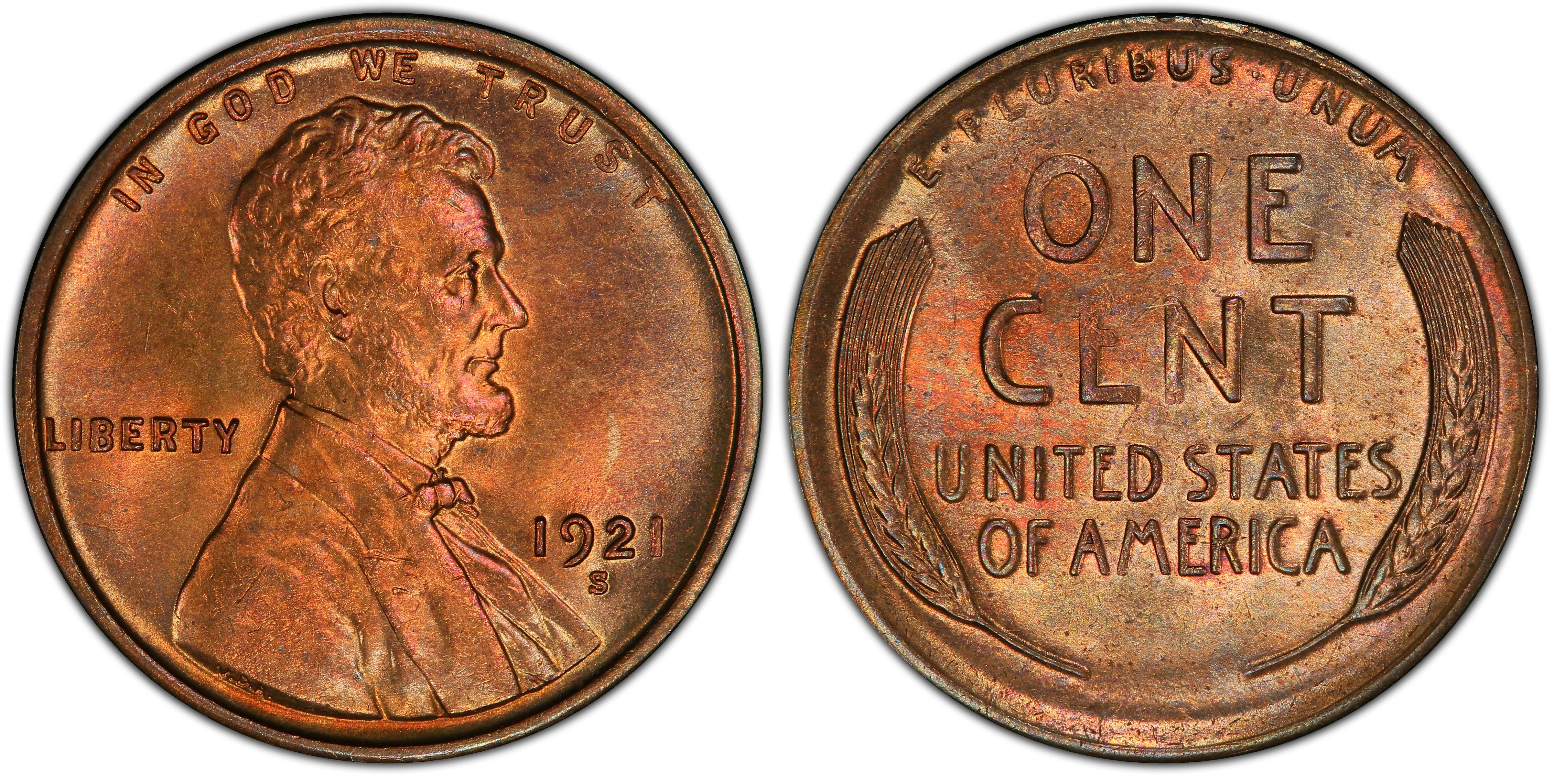 US Coin HS/&C 1921 S Lincoln Wheat PennyCent Brilliant Unc-MS63