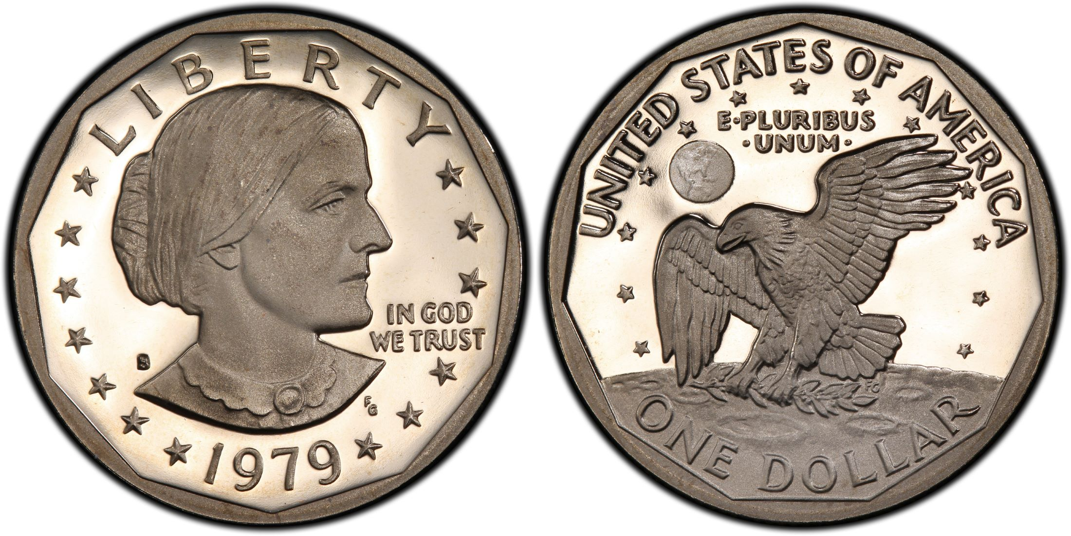 Images of Susan B  Anthony Dollar 1979-S SBA$1 Type 1, DCAM