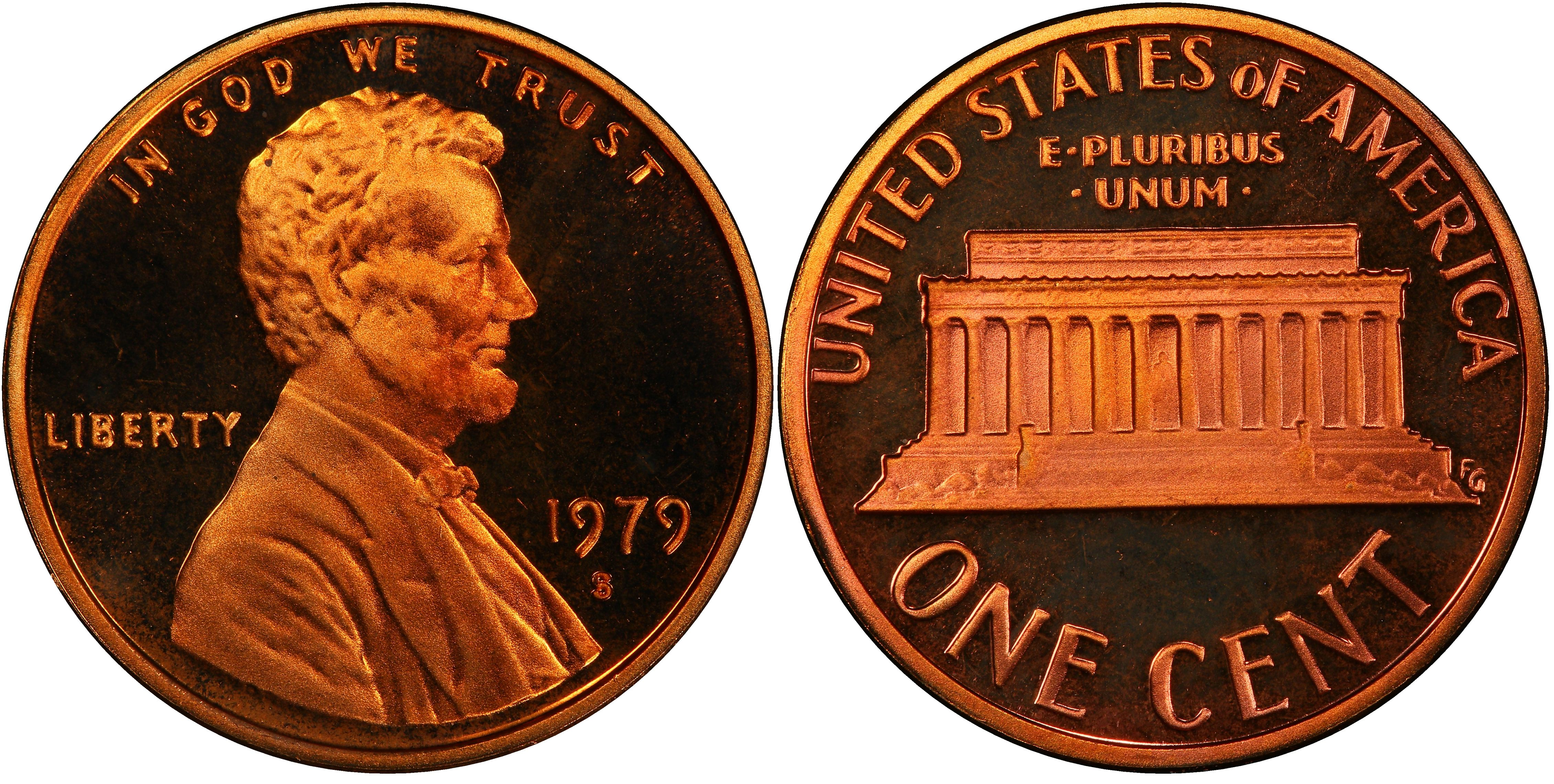1980 S Lincoln Penny One-Cent Proof U.S Mint Copper Coin 1c from Proof Set