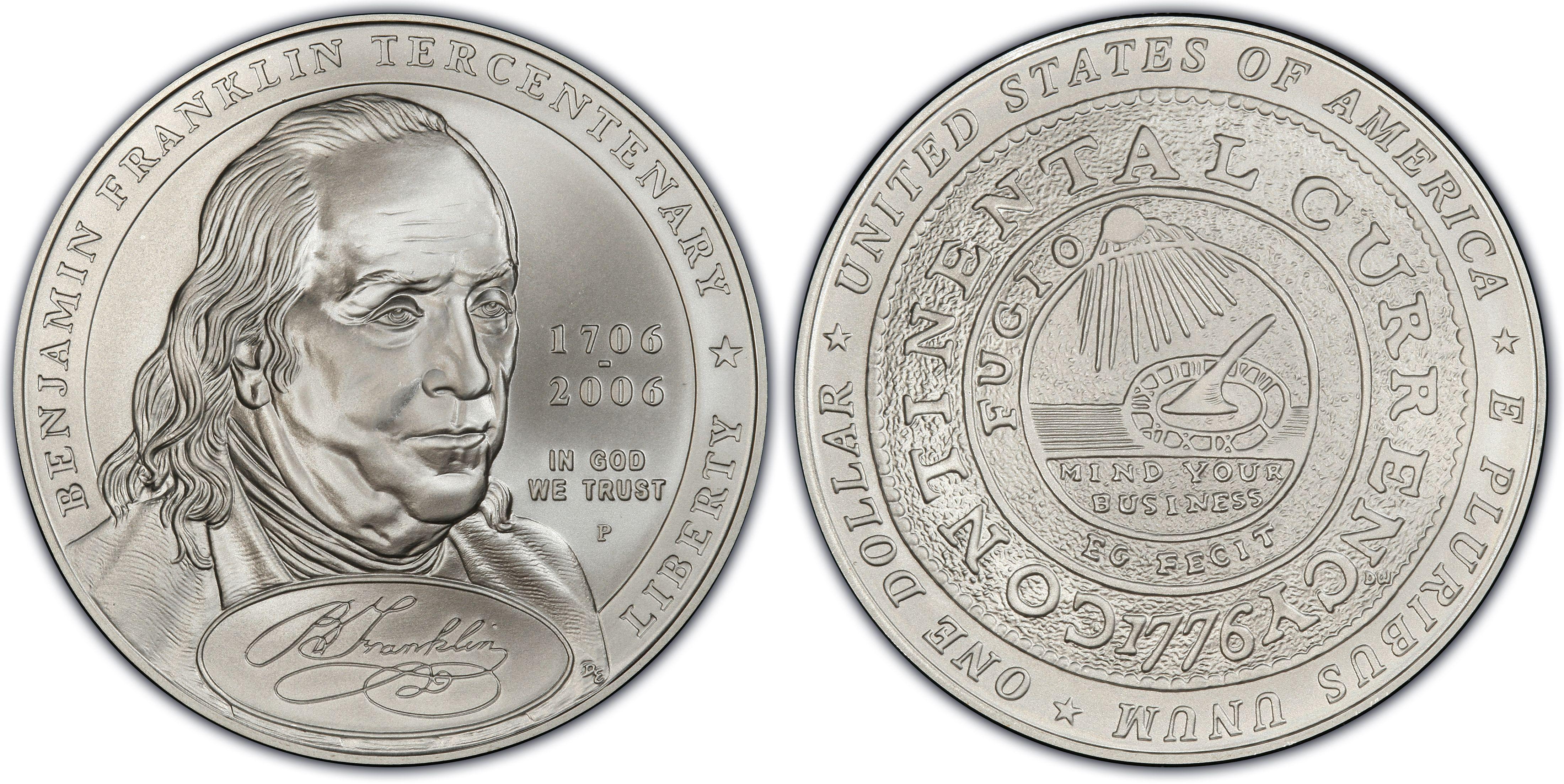 Benjamin Franklin Founding Father 2006 Proof Silver dollar 1 oz BN3 2006 w//COA