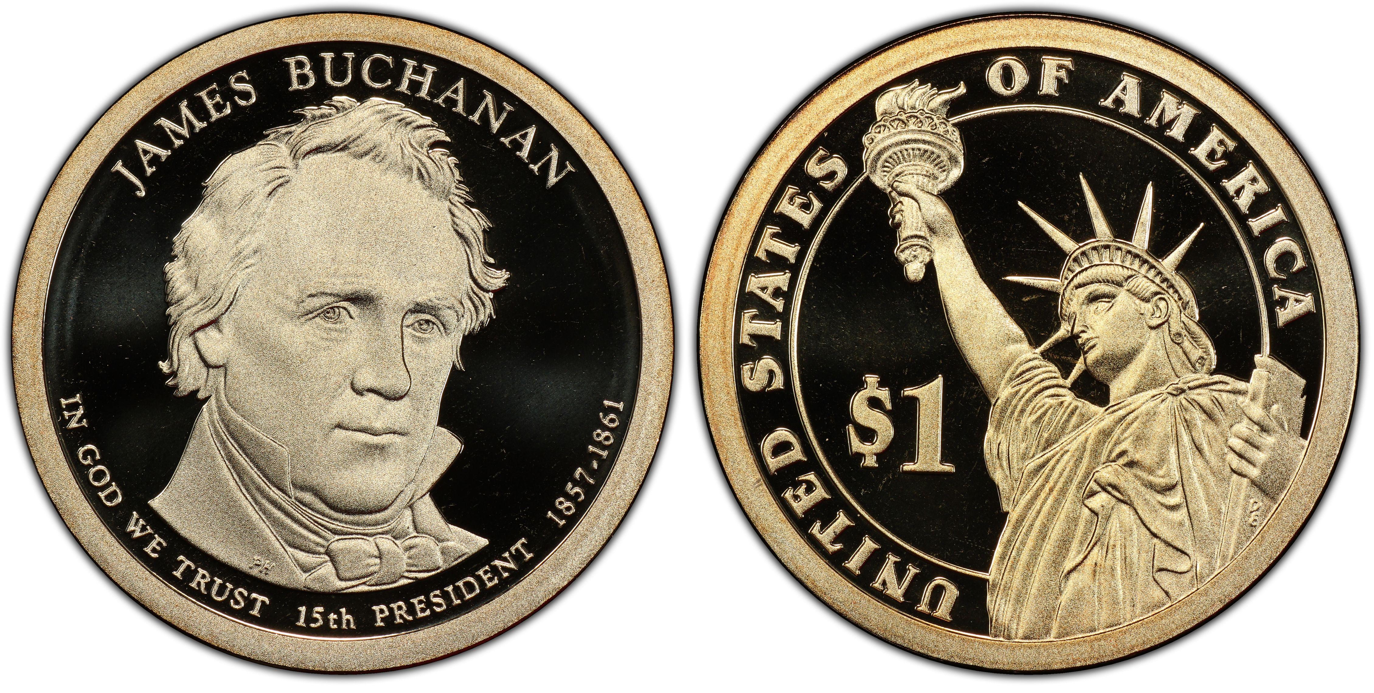2010-S PCGS PR69DCAM James Buchanan Presidential Dollar