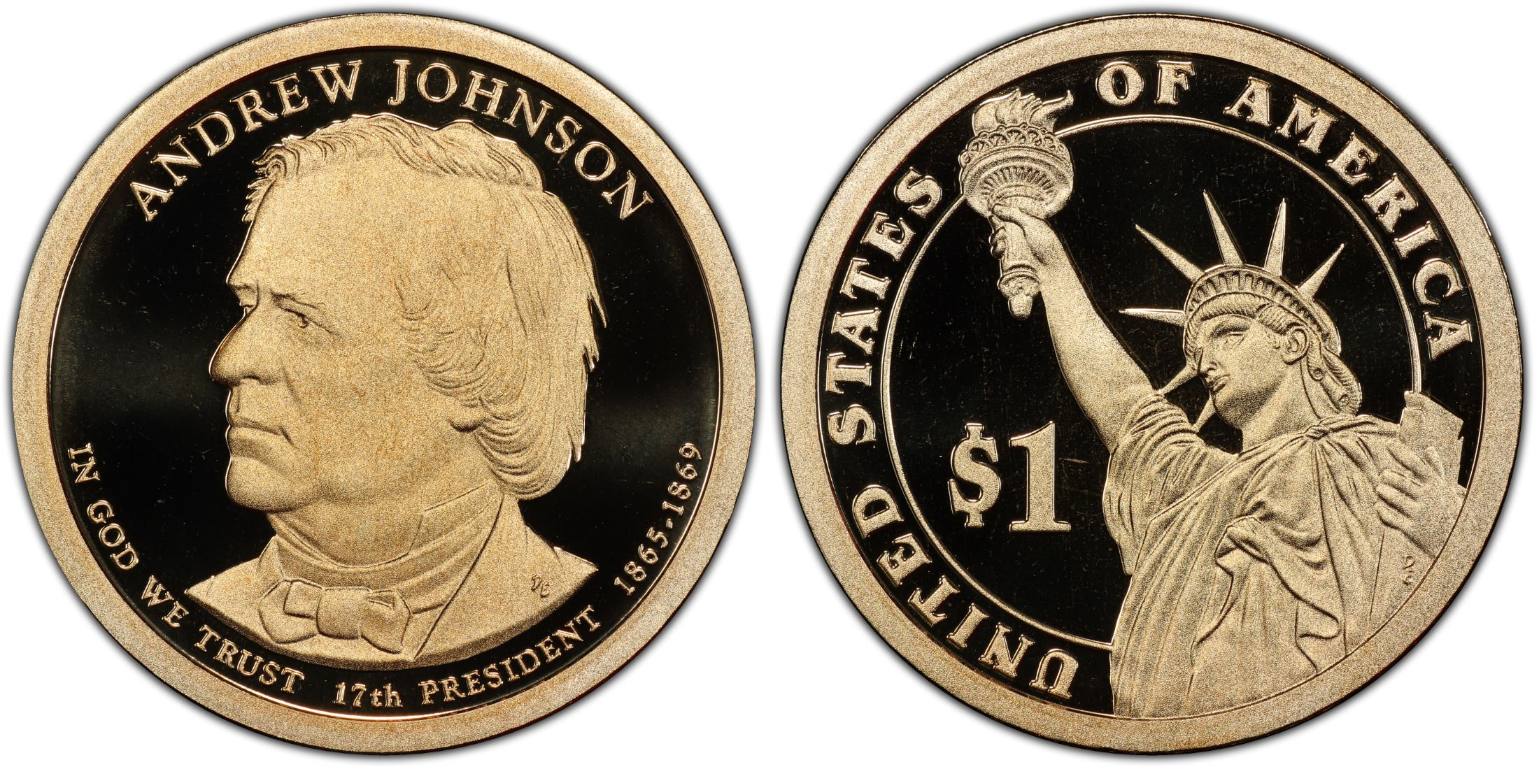 """2011 S Andrew Johnson Presidential Dollar Gem Deep Cameo /""""PROOF/"""" US Mint Coin"""