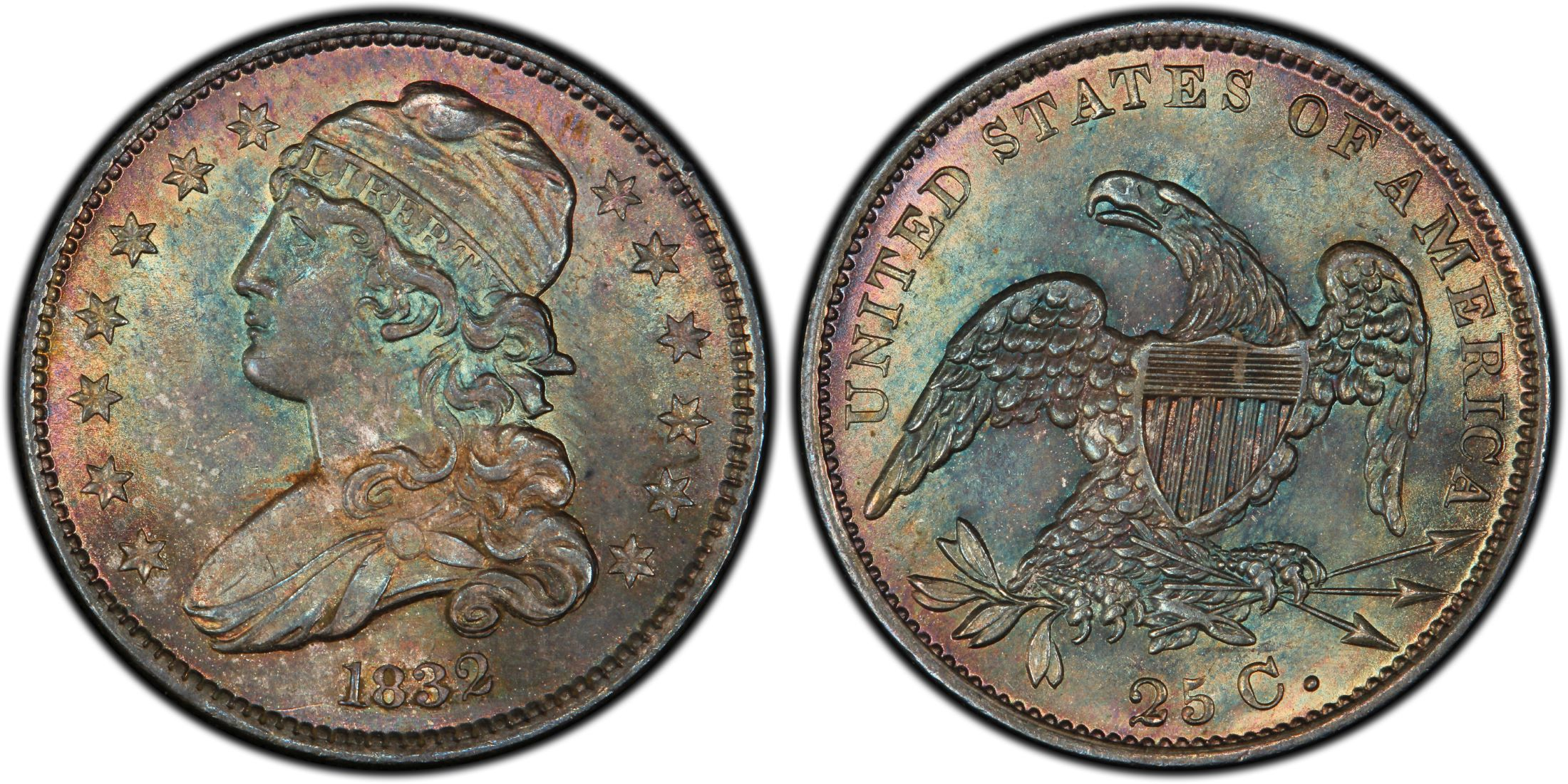 1832 25c Regular Strike Capped Bust Quarter Pcgs Coinfacts
