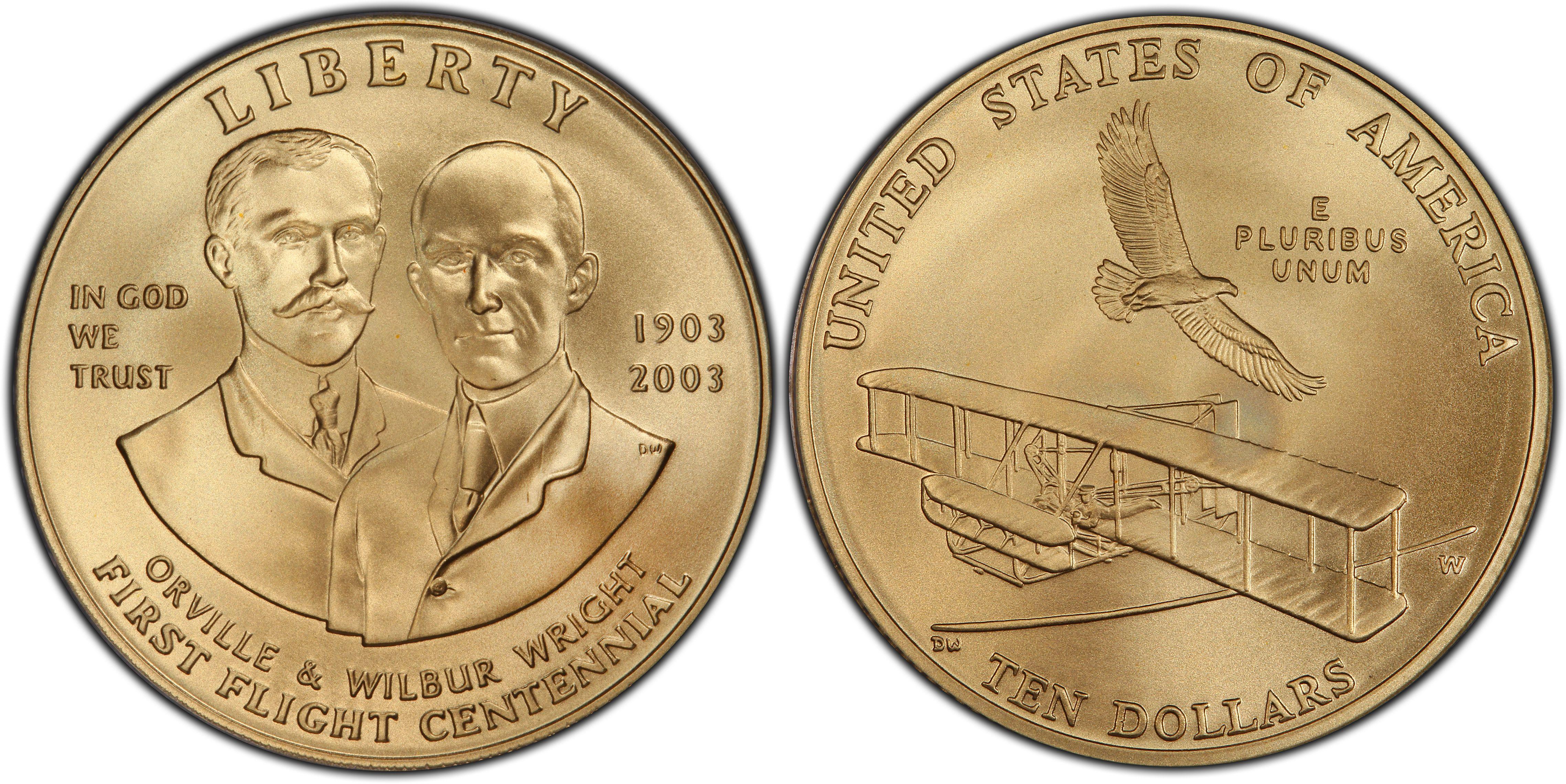 2003 First Flight Centennial Wright Bros Airplane BU Silver Dollar Coin ONLY
