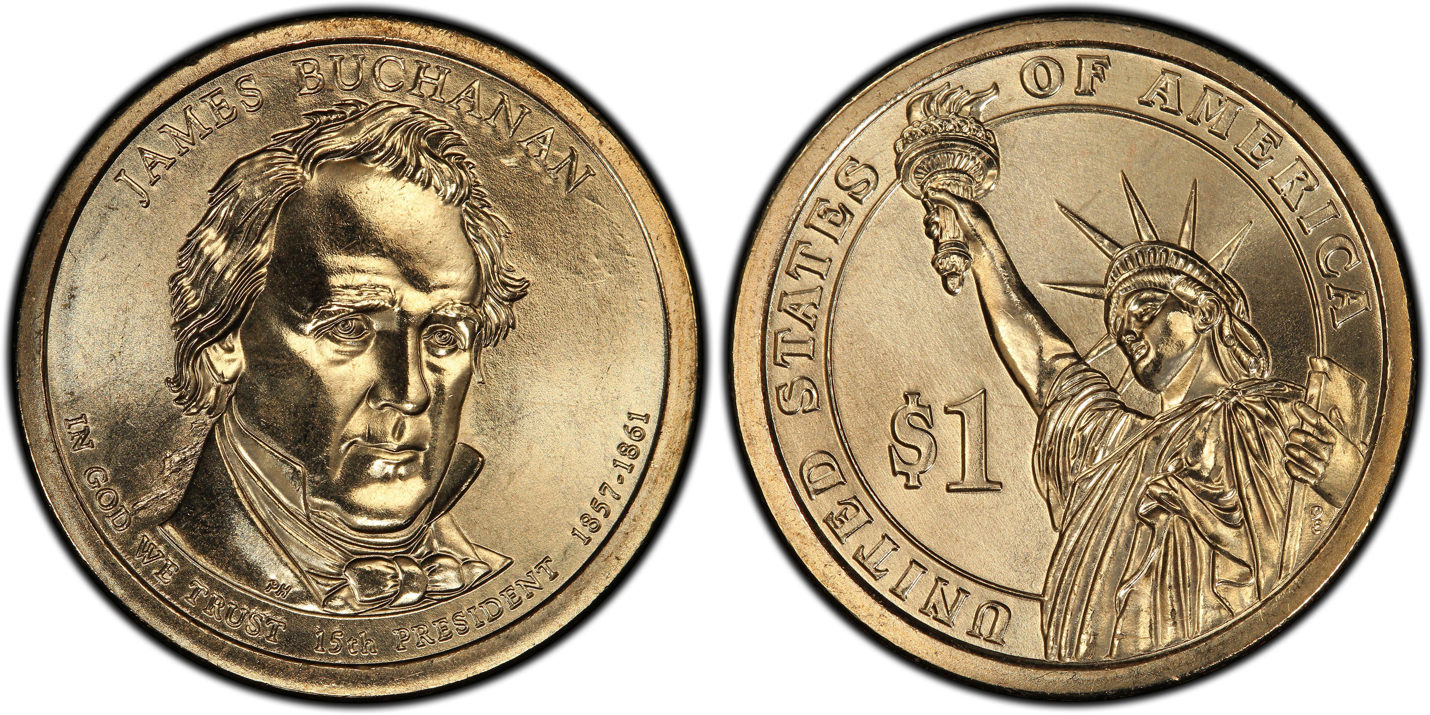2010 US Presidential Dollar Coin James Buchanan P in BU Condition