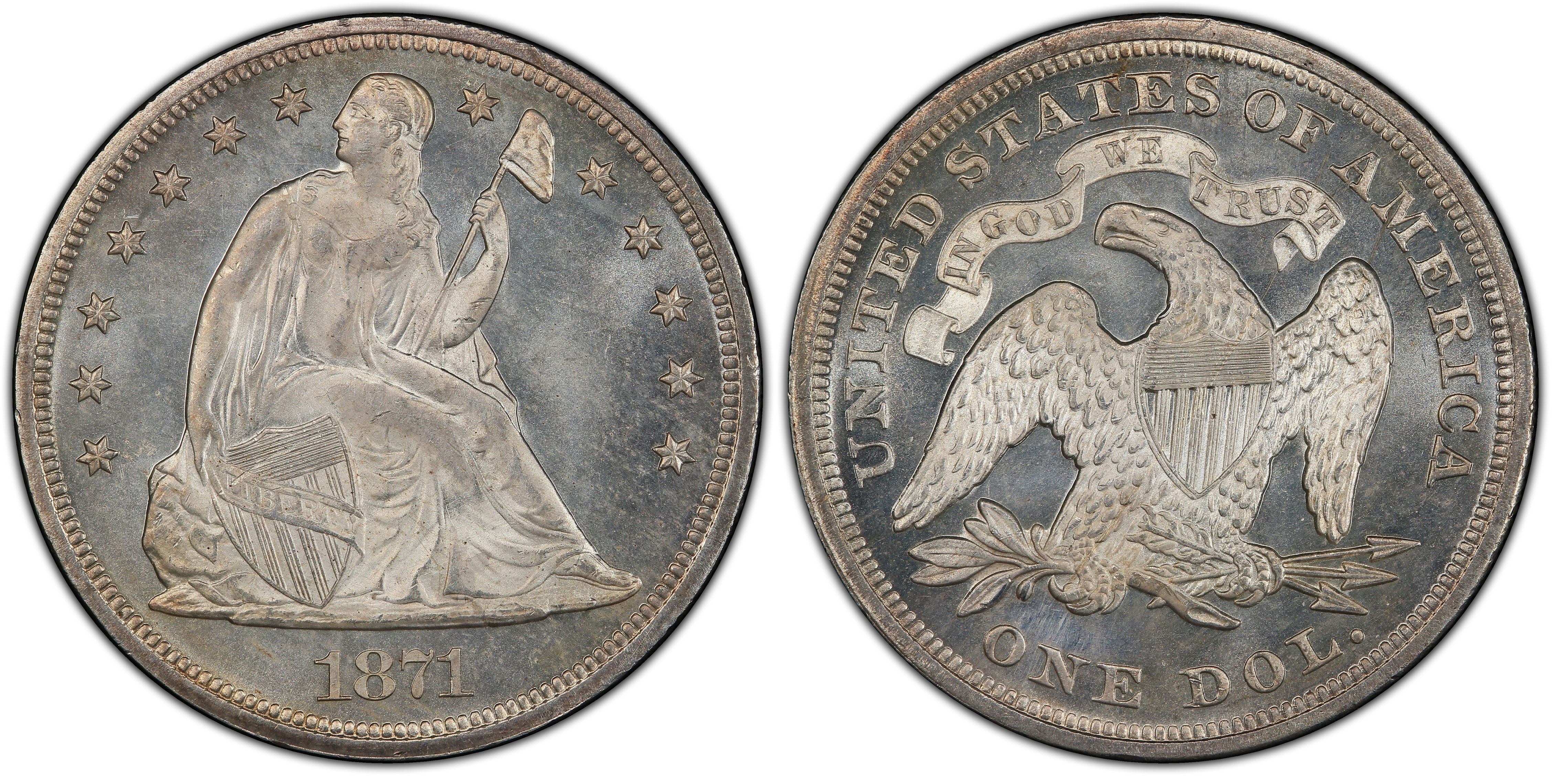 1871 1 Regular Strike Liberty Seated