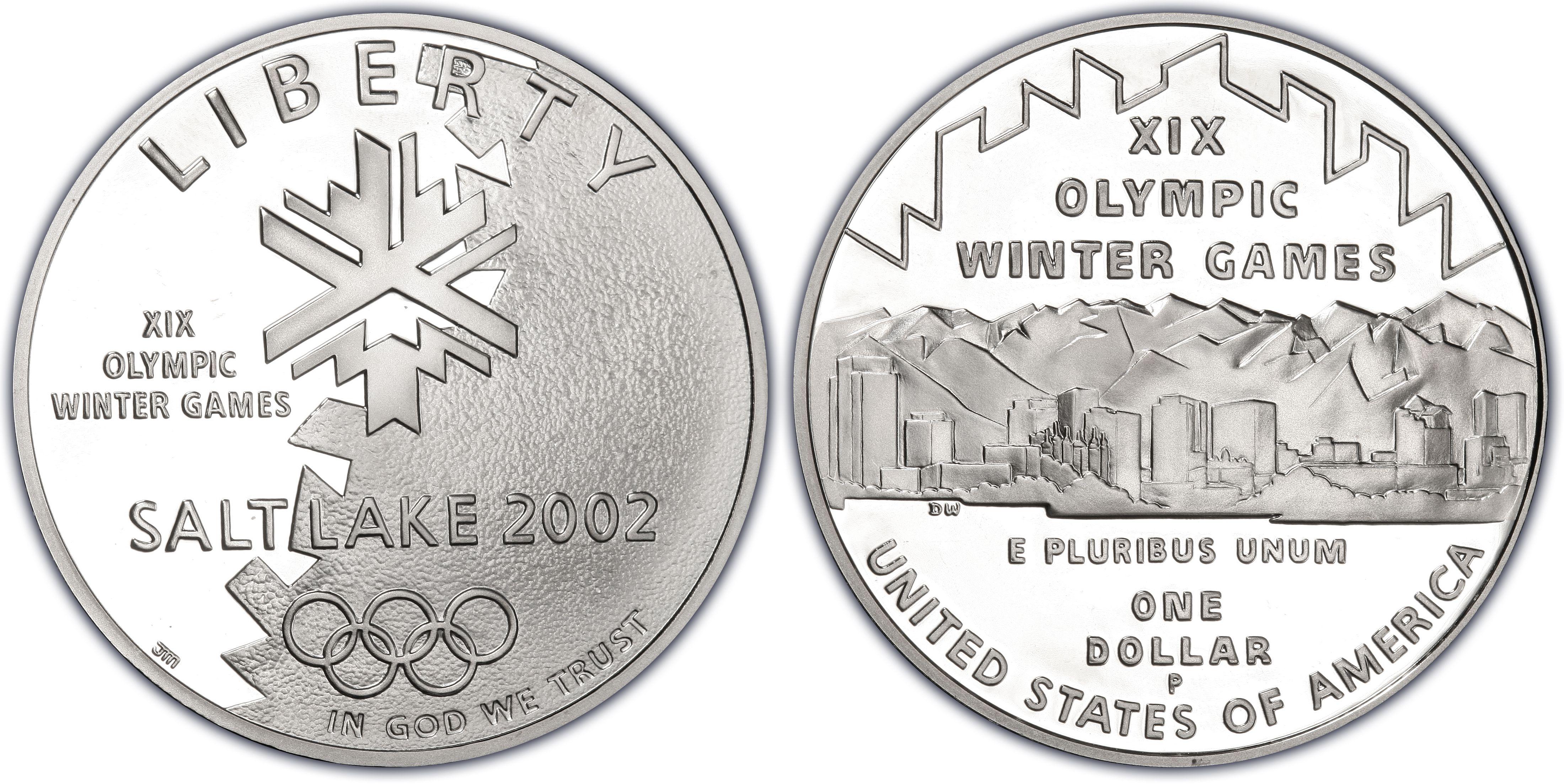 2002-P US Salt Lake City Olympic Winter Games Commemorative BU Silver Dollar