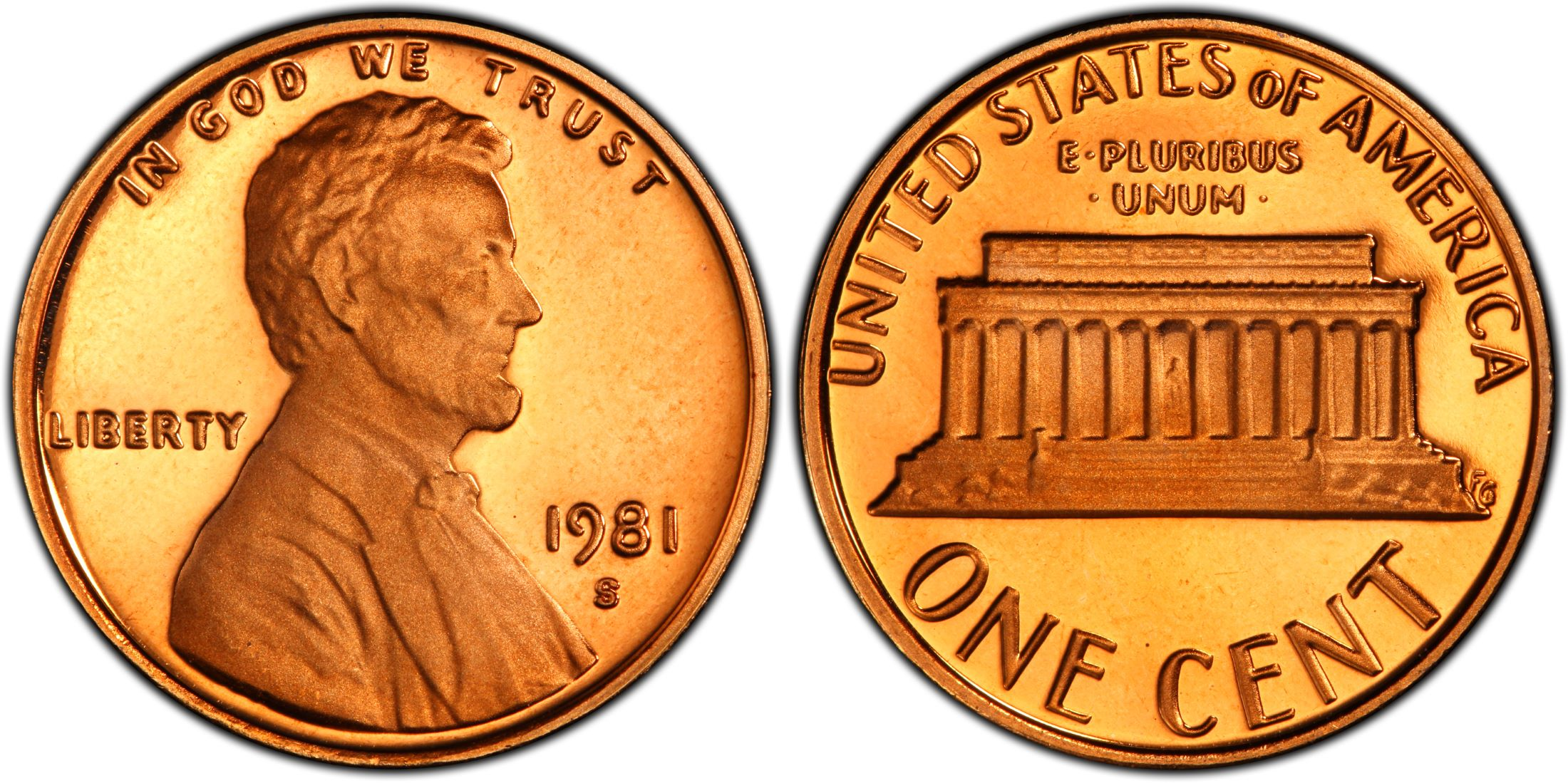 1981 S Lincoln Memorial Proof Penny Type 1 ~ Coin from U.S Mint Proof Set