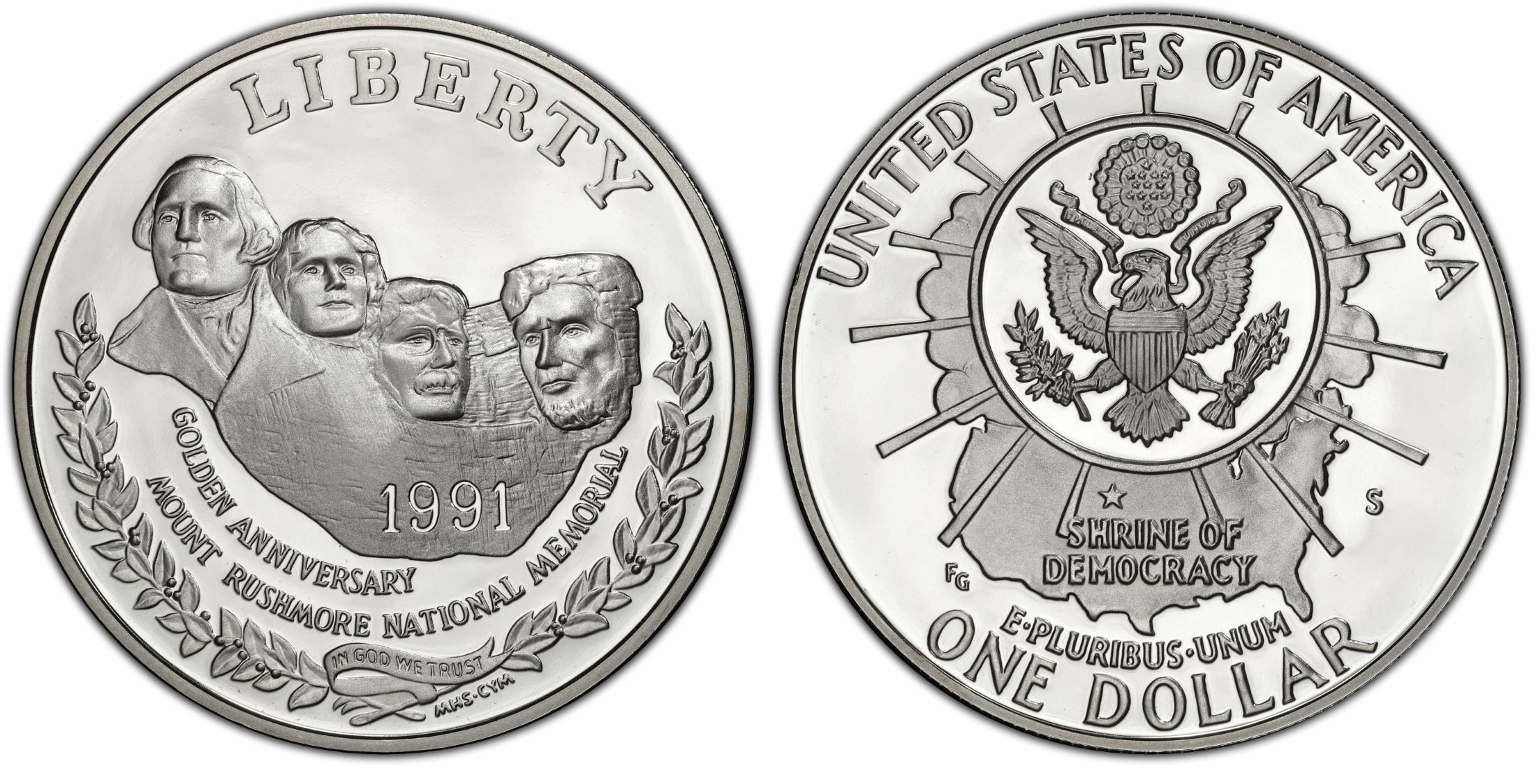 1991 Mount Rushmore Proof 90/% Silver Dollar Commemorative US Mint $1 Coin ONLY