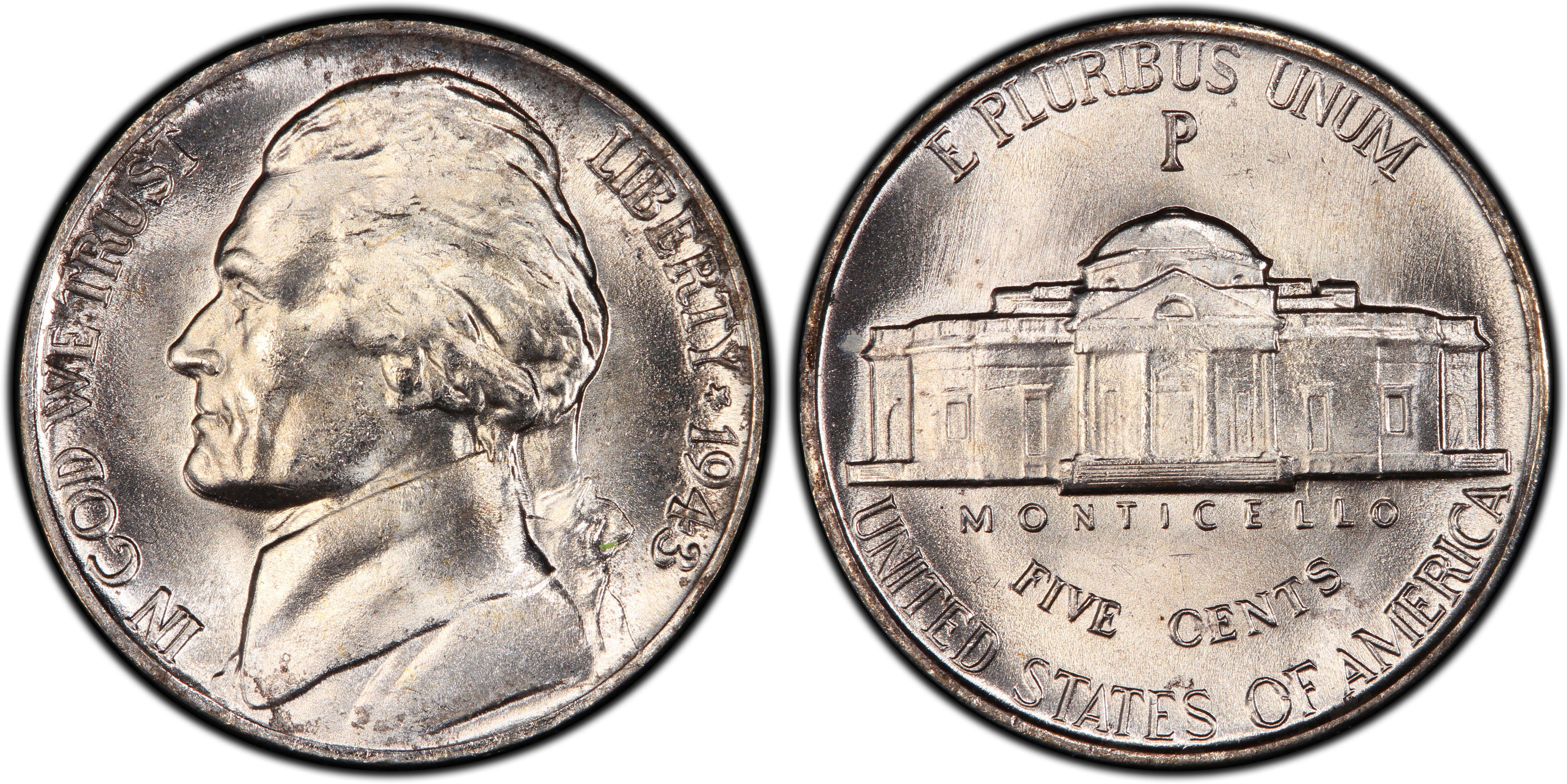 1943-P 5C Doubled Die Obverse (Regular Strike) Jefferson