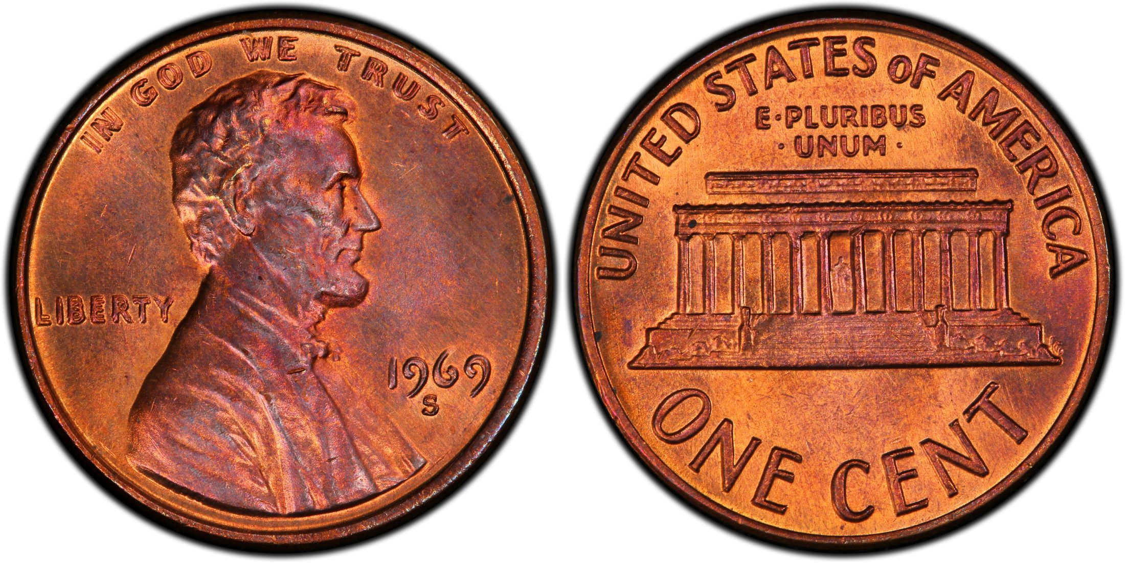 D and S 1969-P Three Lincoln Cents from mint sets