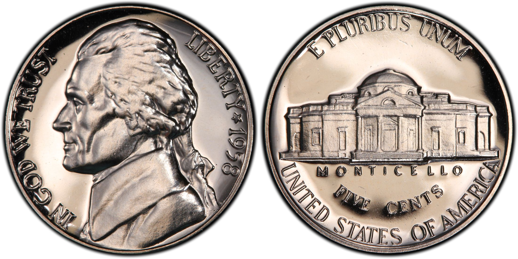 Raw Coin 1957 Jefferson Mint Proof Nickel from Original Proof Set
