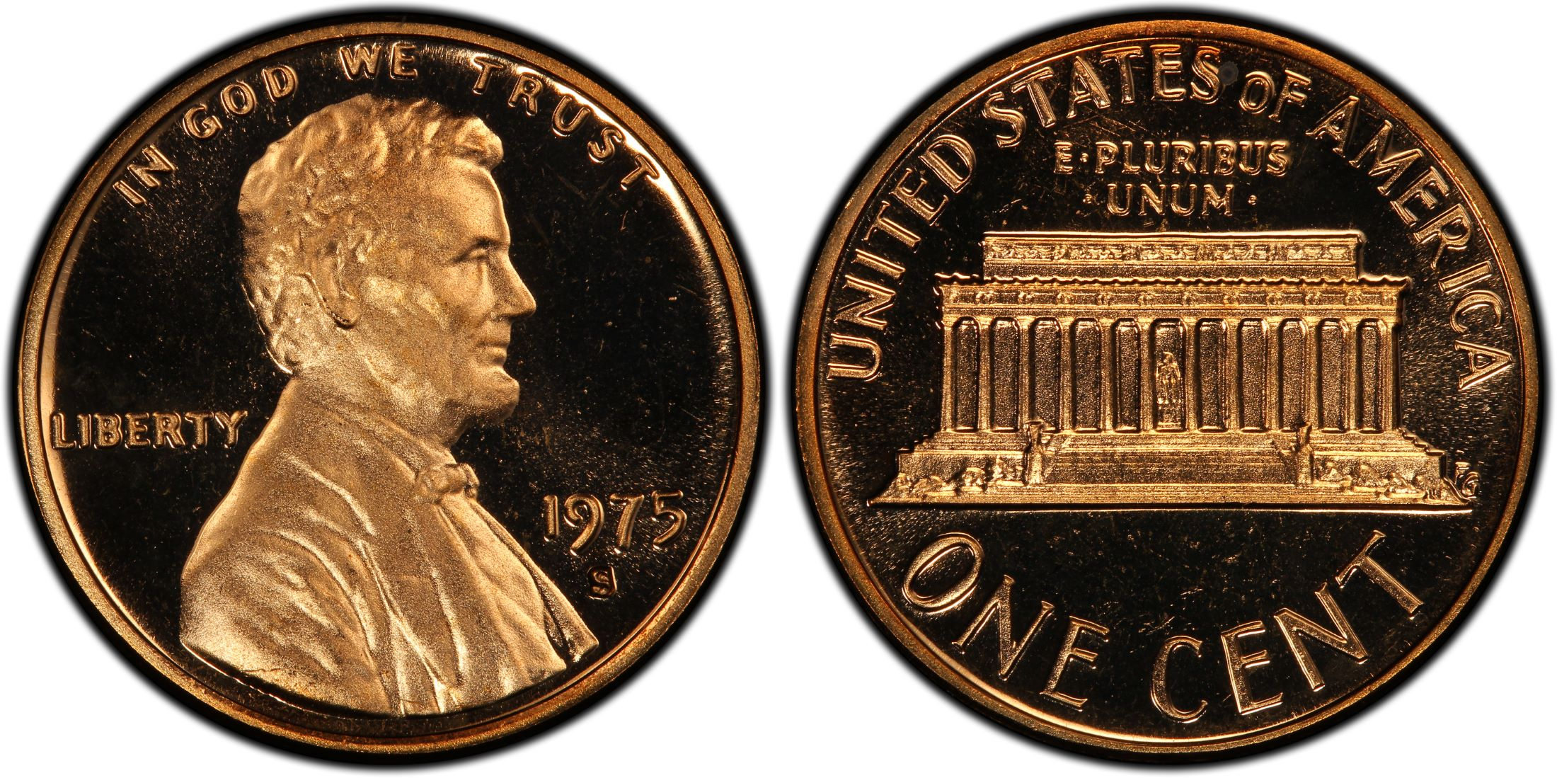 Mint Copper Coin 1c from Proof Set 1975 S Lincoln Penny One-Cent Proof U.S