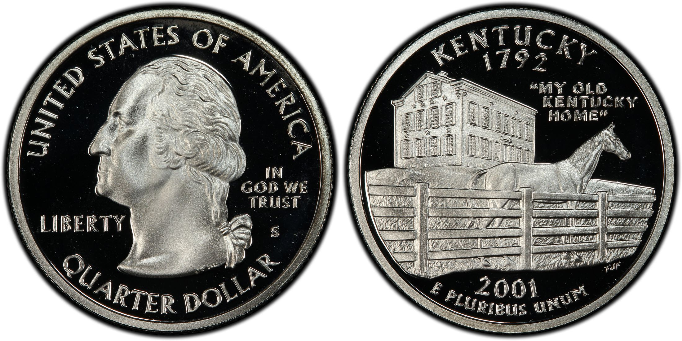 """A 2001 S Kentucky 90/% SILVER Deep Cameo /""""PROOF/"""" State Quarter US Mint Coin"""