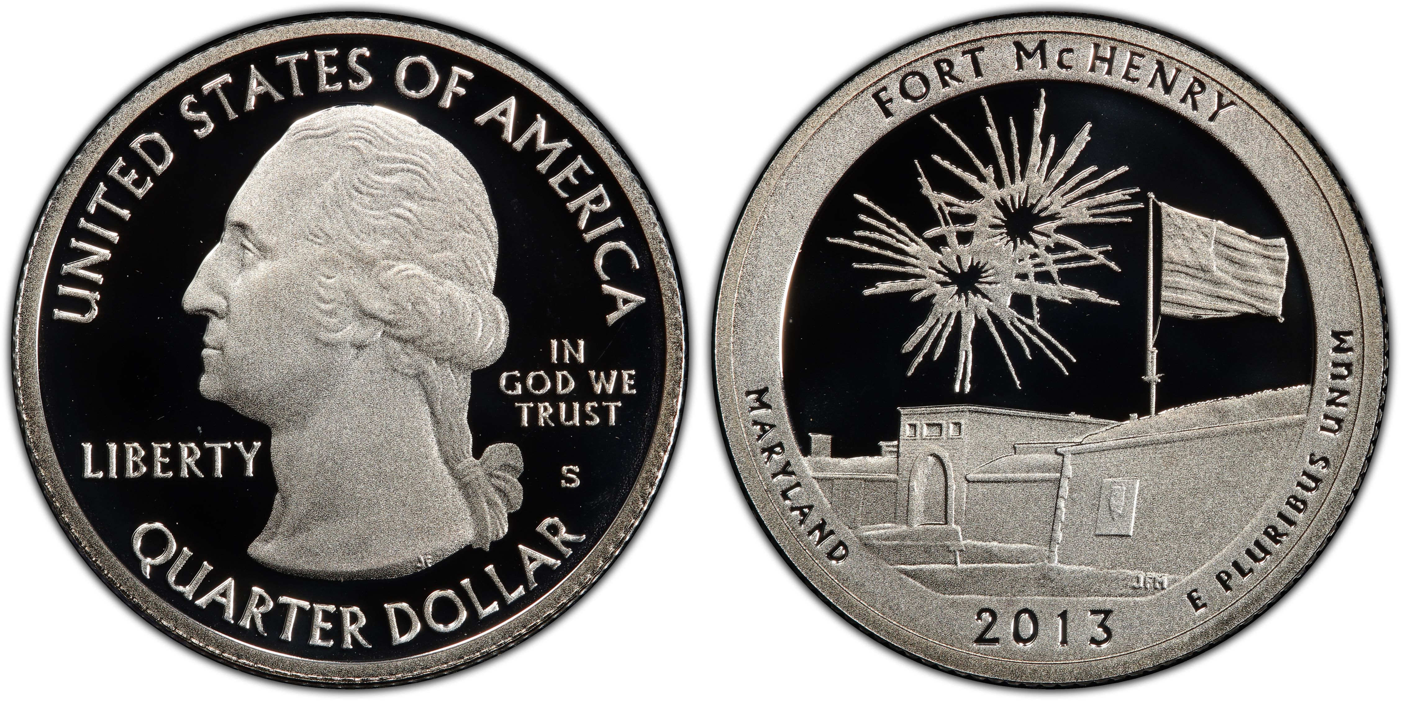 Silver Proof 2013 Fort McHenry Maryland S America the Beautiful Quarter