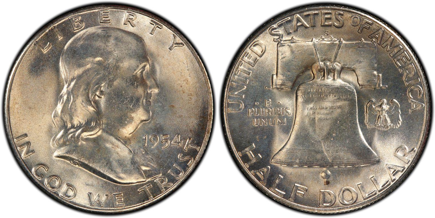 100/% White 1954-D PCGS MS65 FBL Franklin Half Dollar