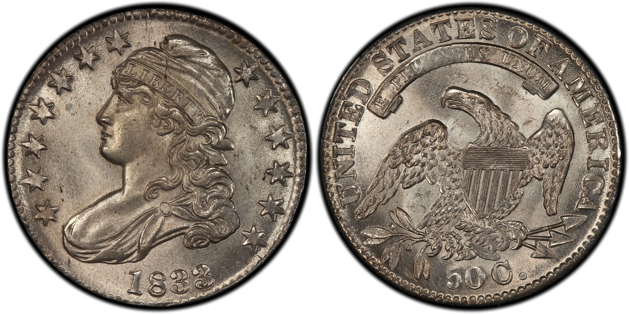 1833 50c Overton 106 Regular Strike Capped Bust Half