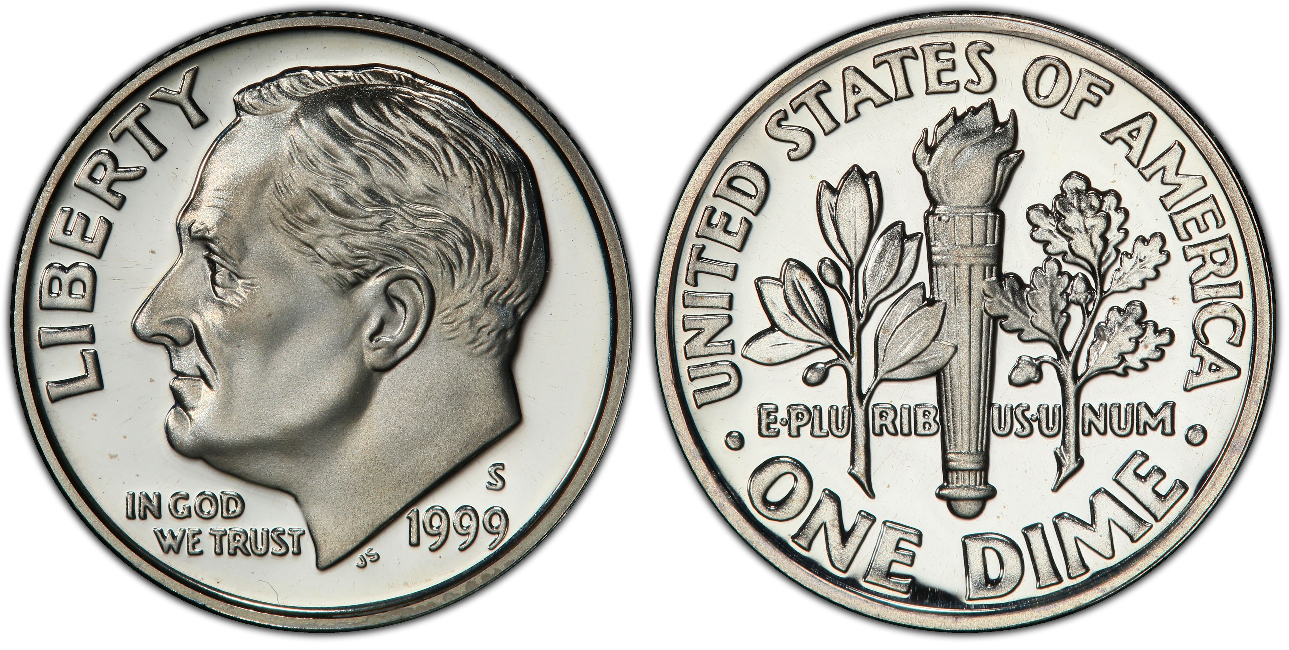 Excellent 1990-S Proof United States Roosevelt Dime 10c Coin