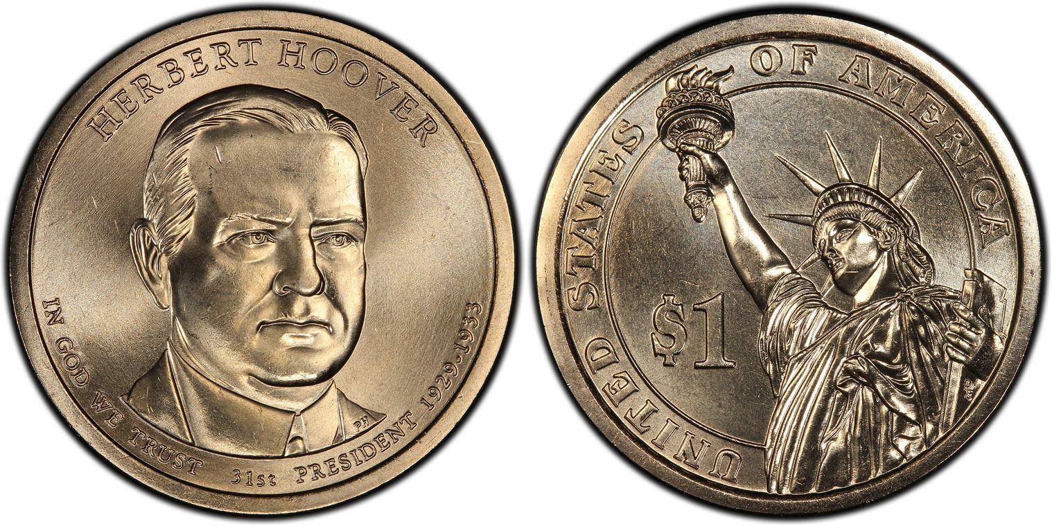 PCGS MS67 2014-D Herbert Hoover Presidential Dollar Position B