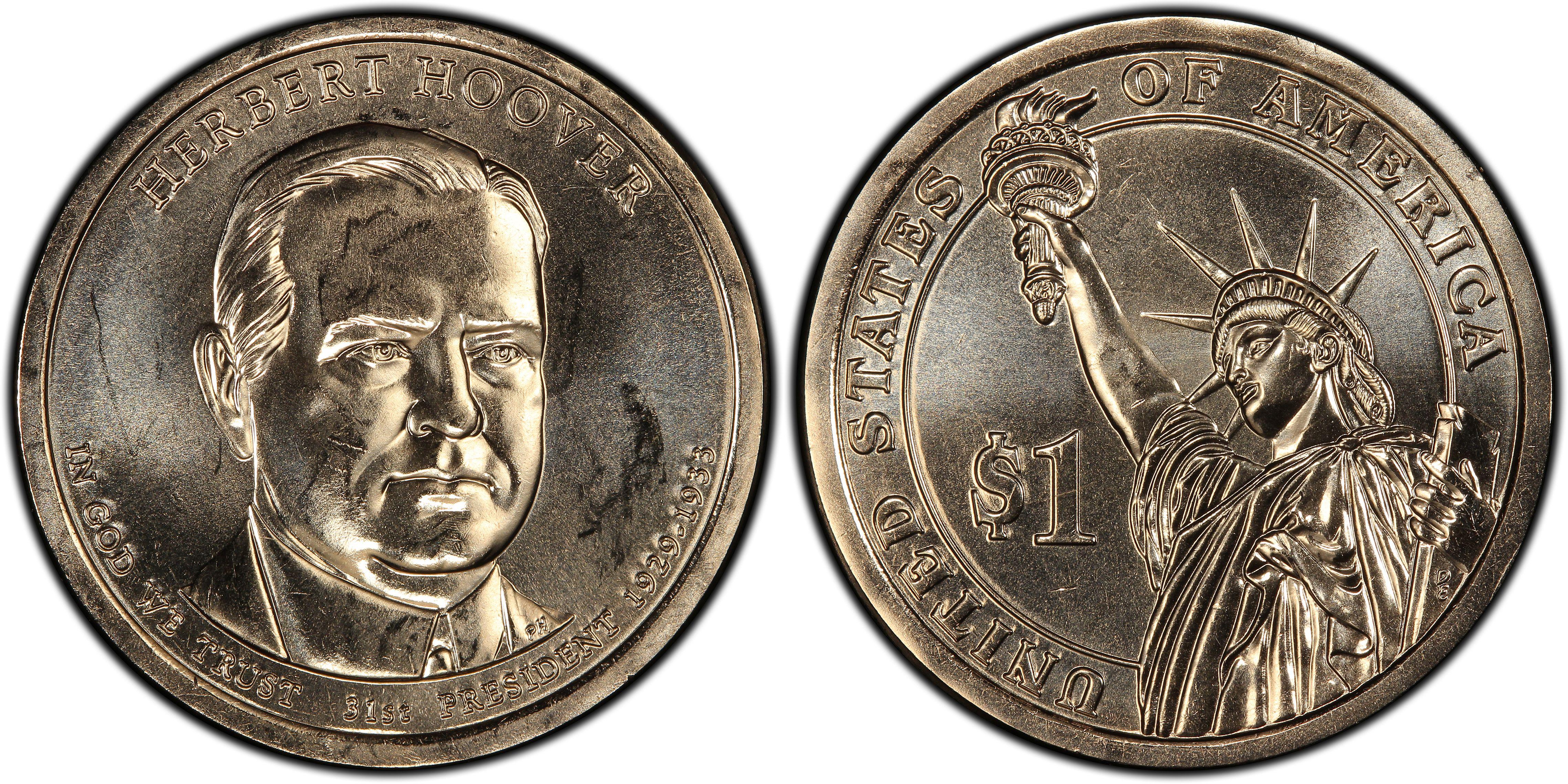 PCGS MS67 2014-D Herbert Hoover Presidential Dollar Position A