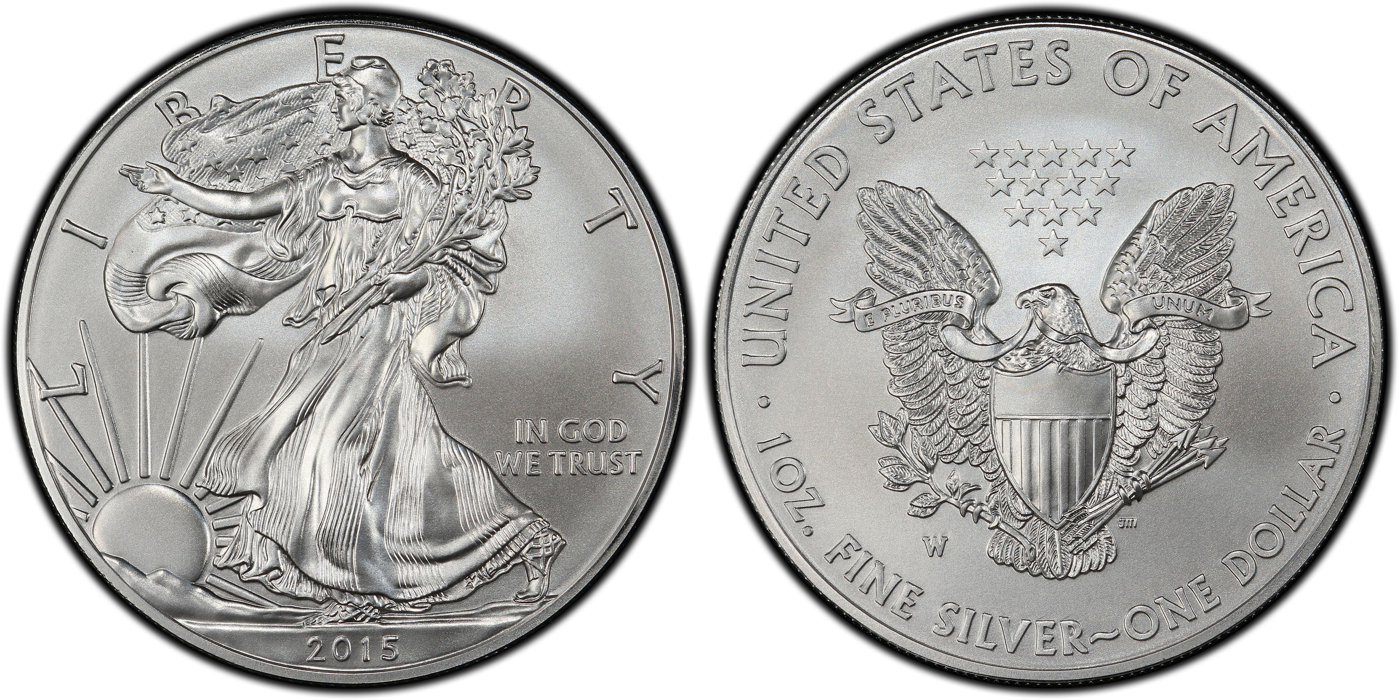 2015-W $1 Burnished Silver Eagle SP70 PCGS Thomas Cleveland Art Deco