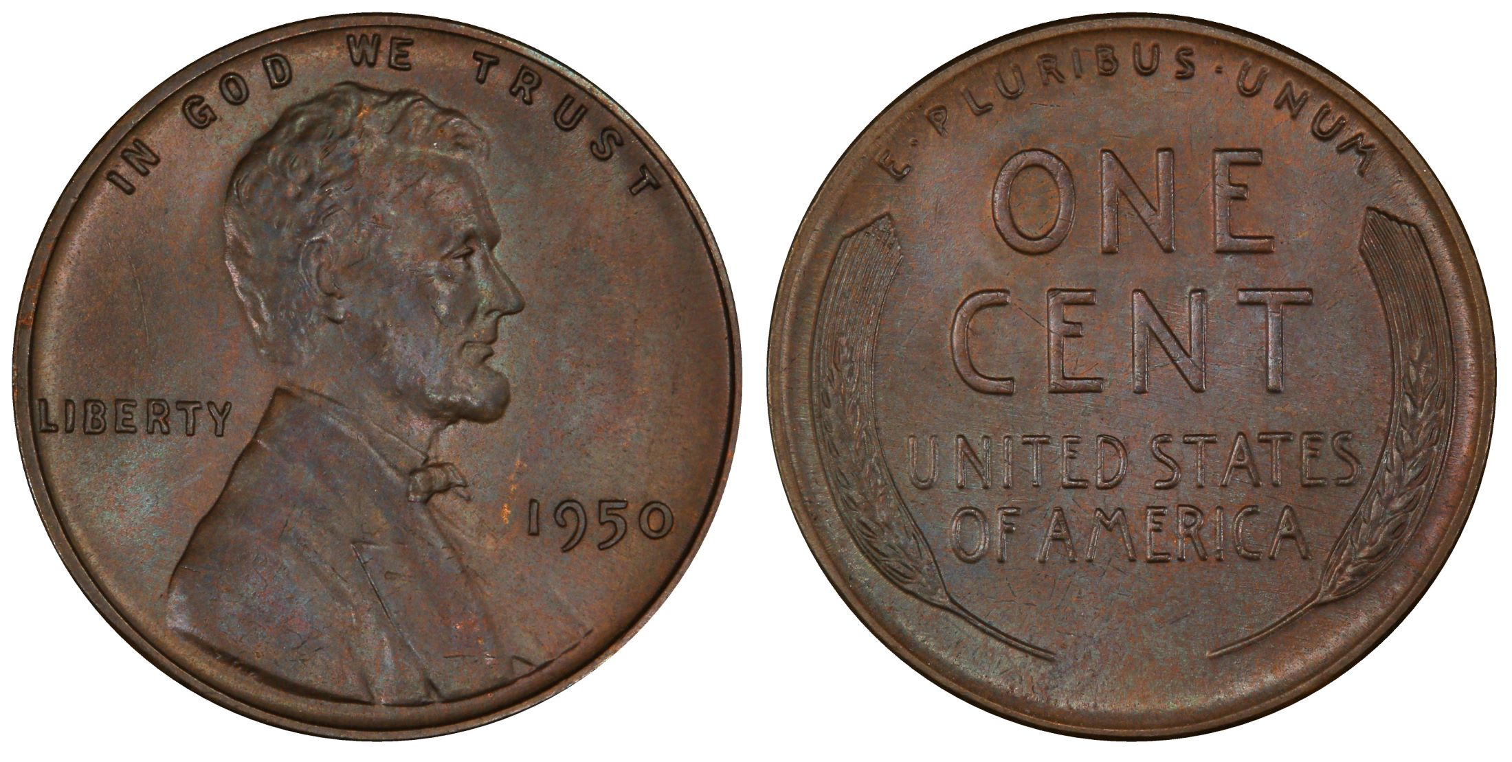 MS65RD PCGS 1950-P Lincoln Cent