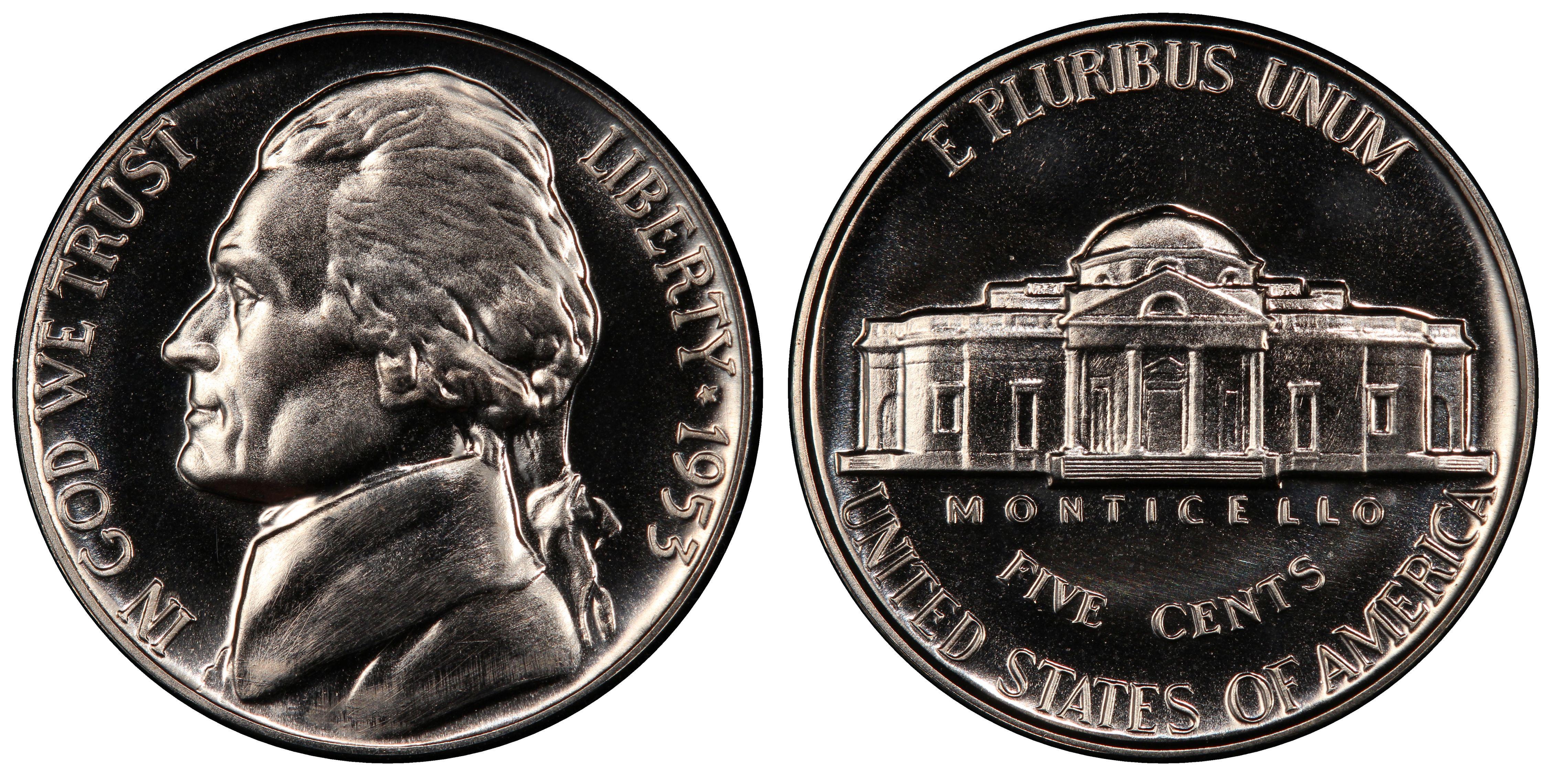 Uncertified 1953 Jefferson Nickel Choice Proof+