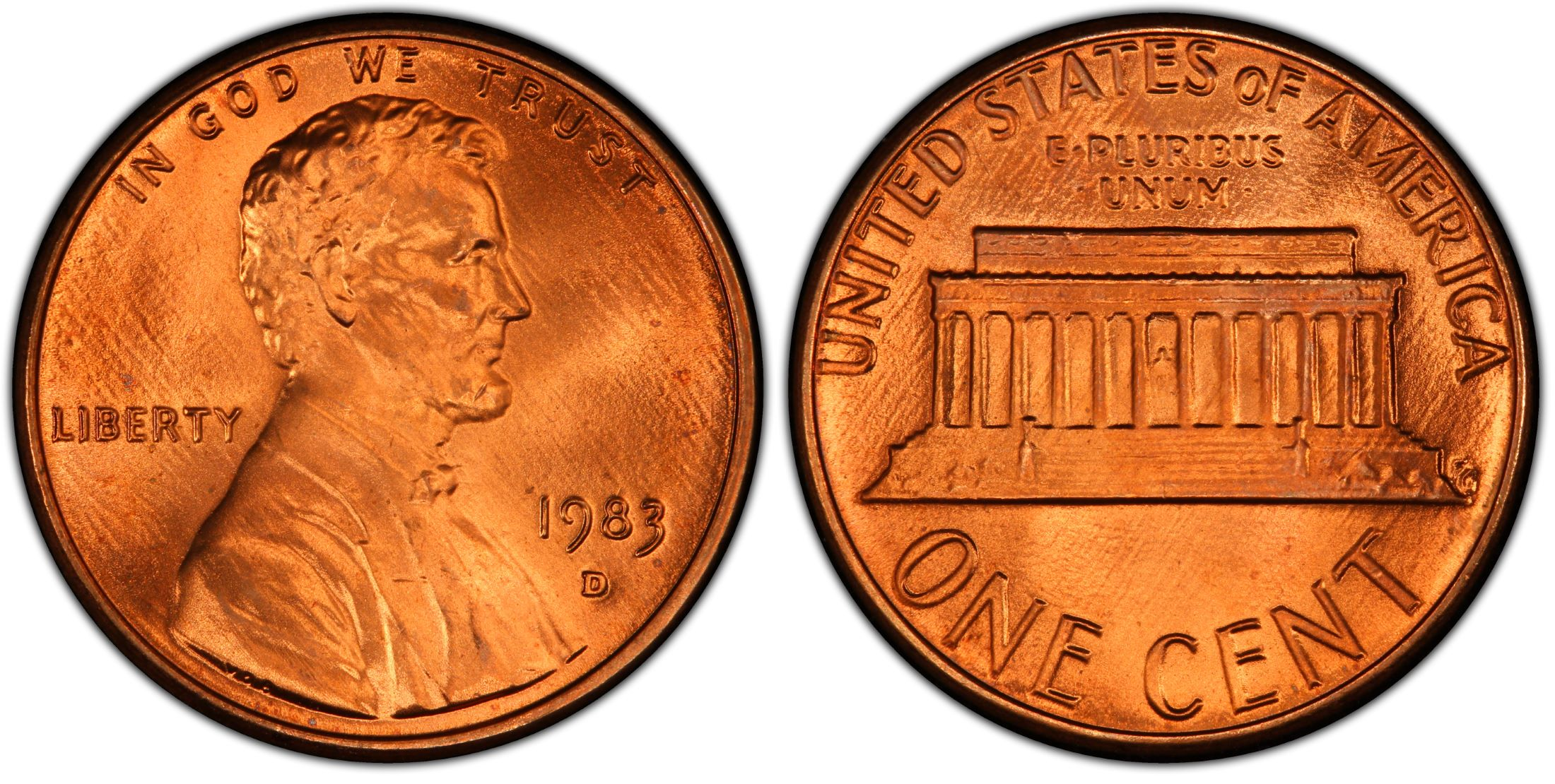 1983 D Lincoln Memorial Cent Choice Penny US Coin