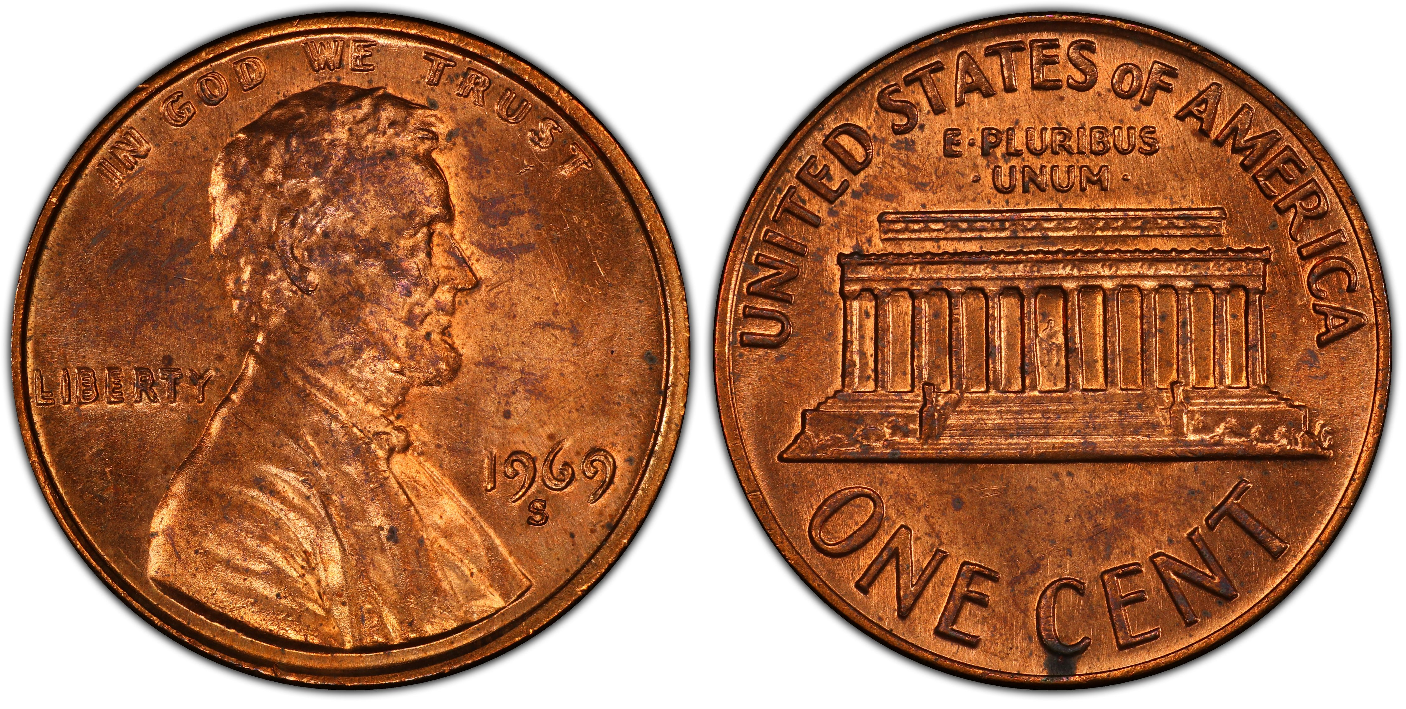 1969 S FULL RED B.U LINCOLN MEMORIAL SMALL CENT