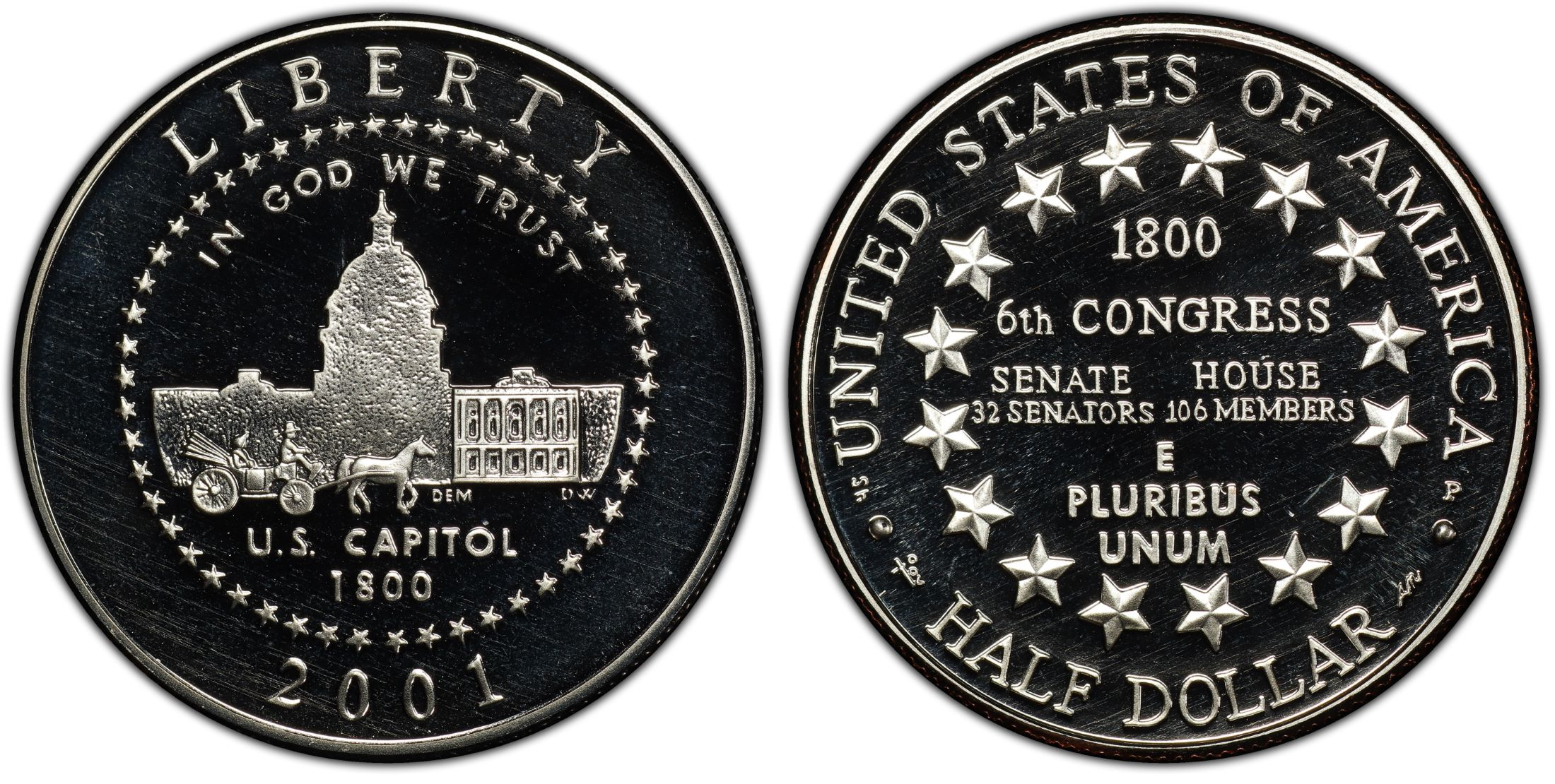 2001 P Capitol Visitor Center Proof Half Dollar 50 Cents Coin ONLY Commemorative