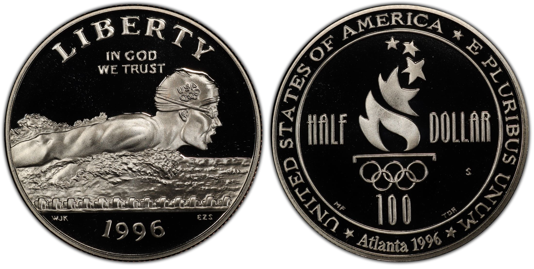 USA SILVER PROOF $ 1996P ATLANTA OLYMPIC GAMES HIGH JUMP SWIMMER CLAD 1//2 DOLLAR
