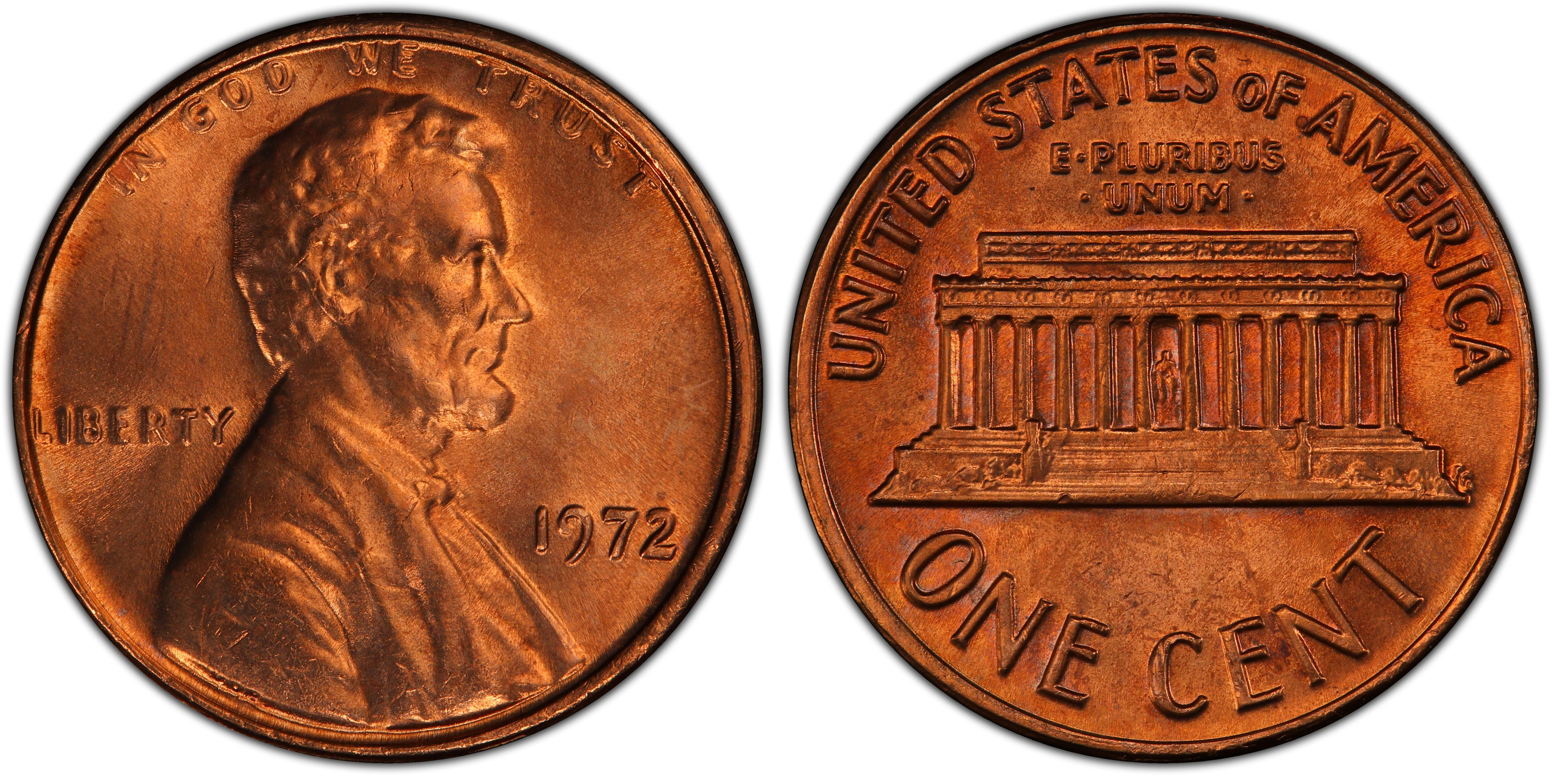 1972 Lincoln Memorial One Cent PCGS MS66RD