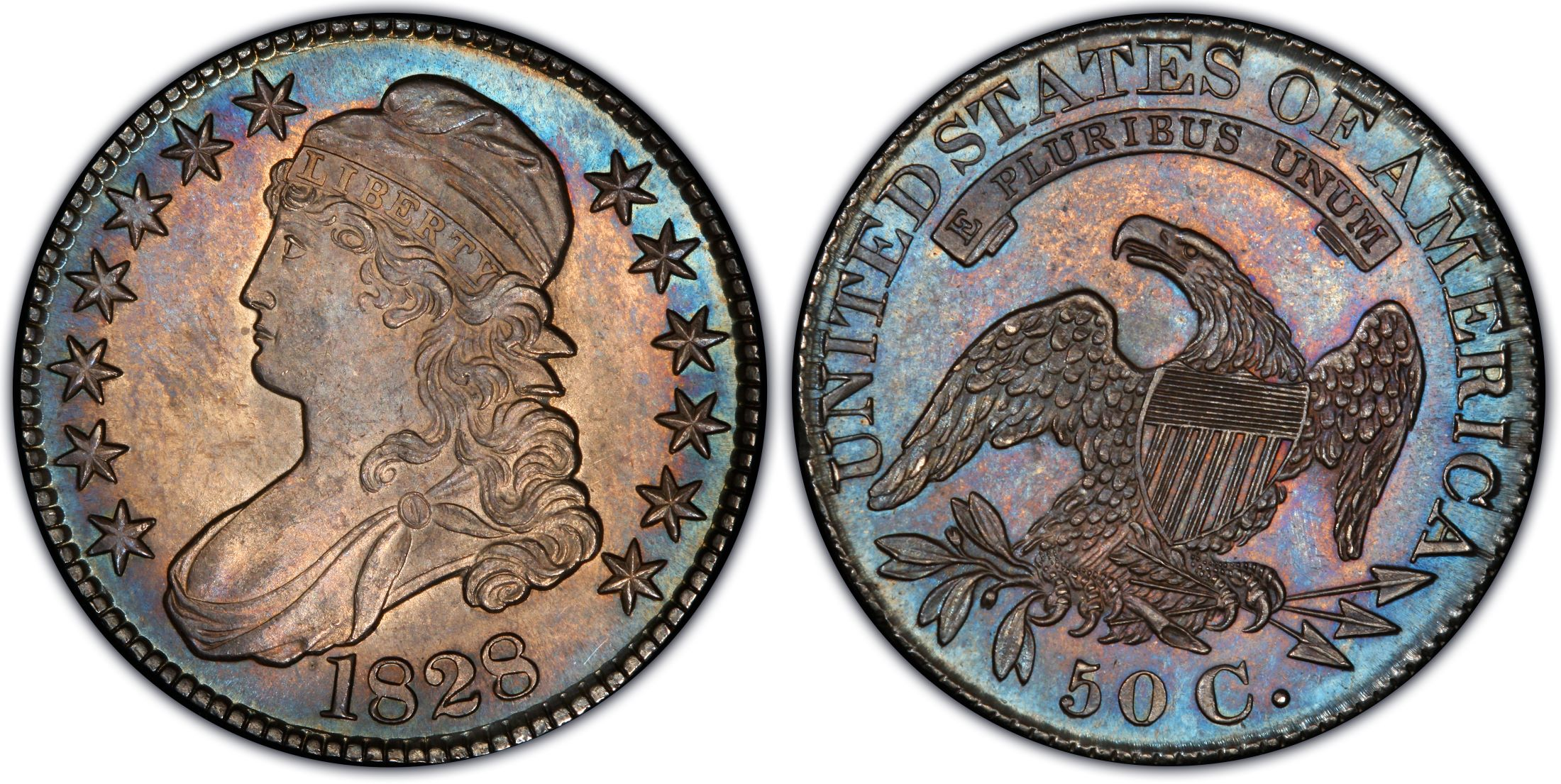 1828 Capped Bust Half Dollar Sq Base 2 Knob AU-53 PCGS