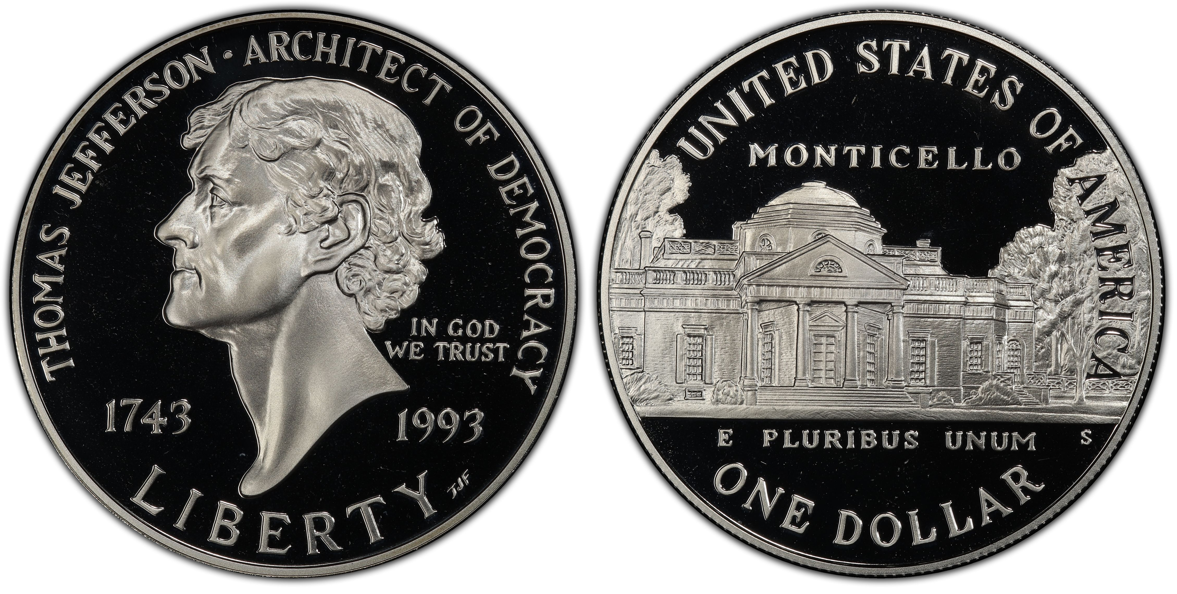 1993 Thomas Jefferson 250th Aniv Proof 90/% Silver Dollar Coin ONLY $1